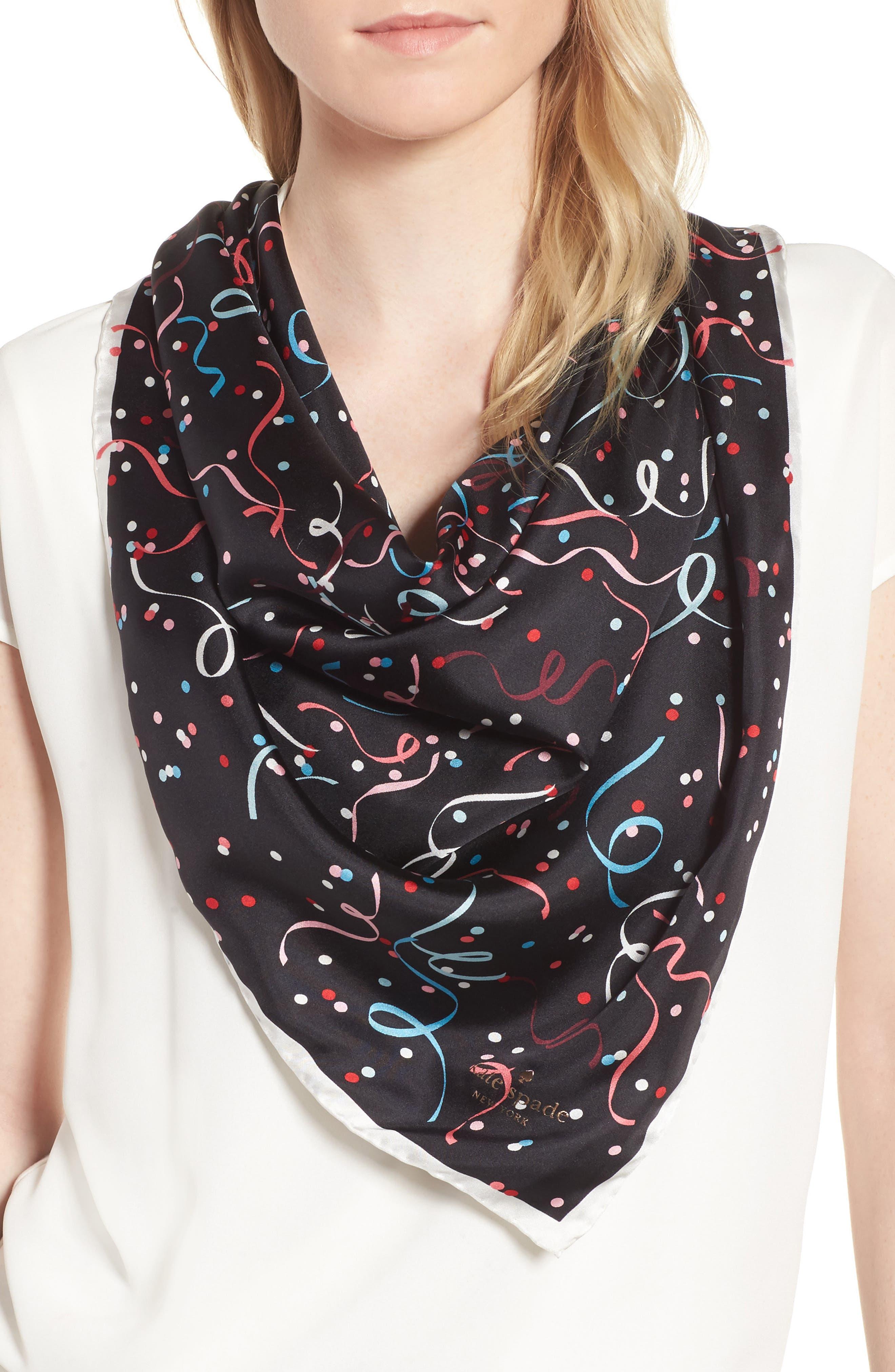confetti square silk scarf,                             Main thumbnail 1, color,