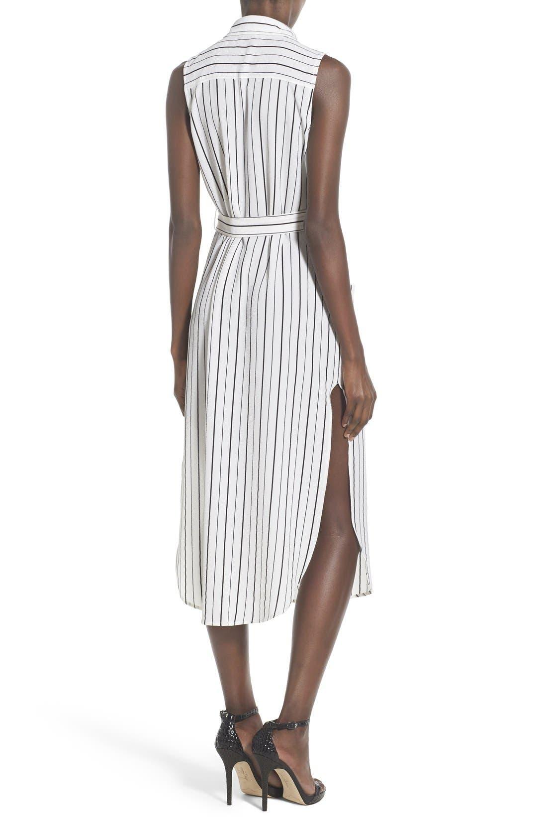 Stripe Sleeveless Midi Shirtdress,                             Alternate thumbnail 2, color,                             100