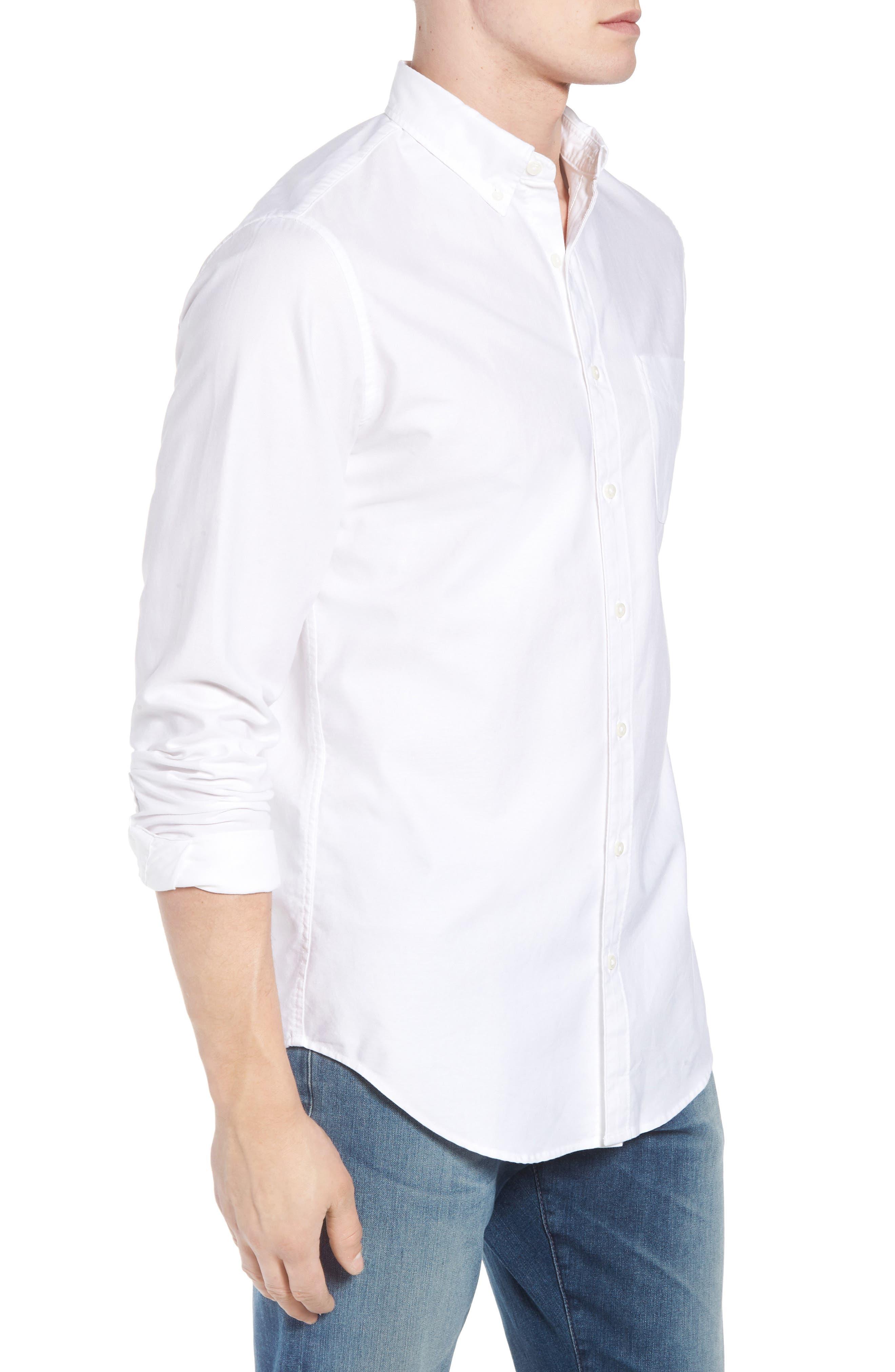 Classic Fit Stretch Pima Cotton Oxford Shirt,                             Alternate thumbnail 3, color,                             104