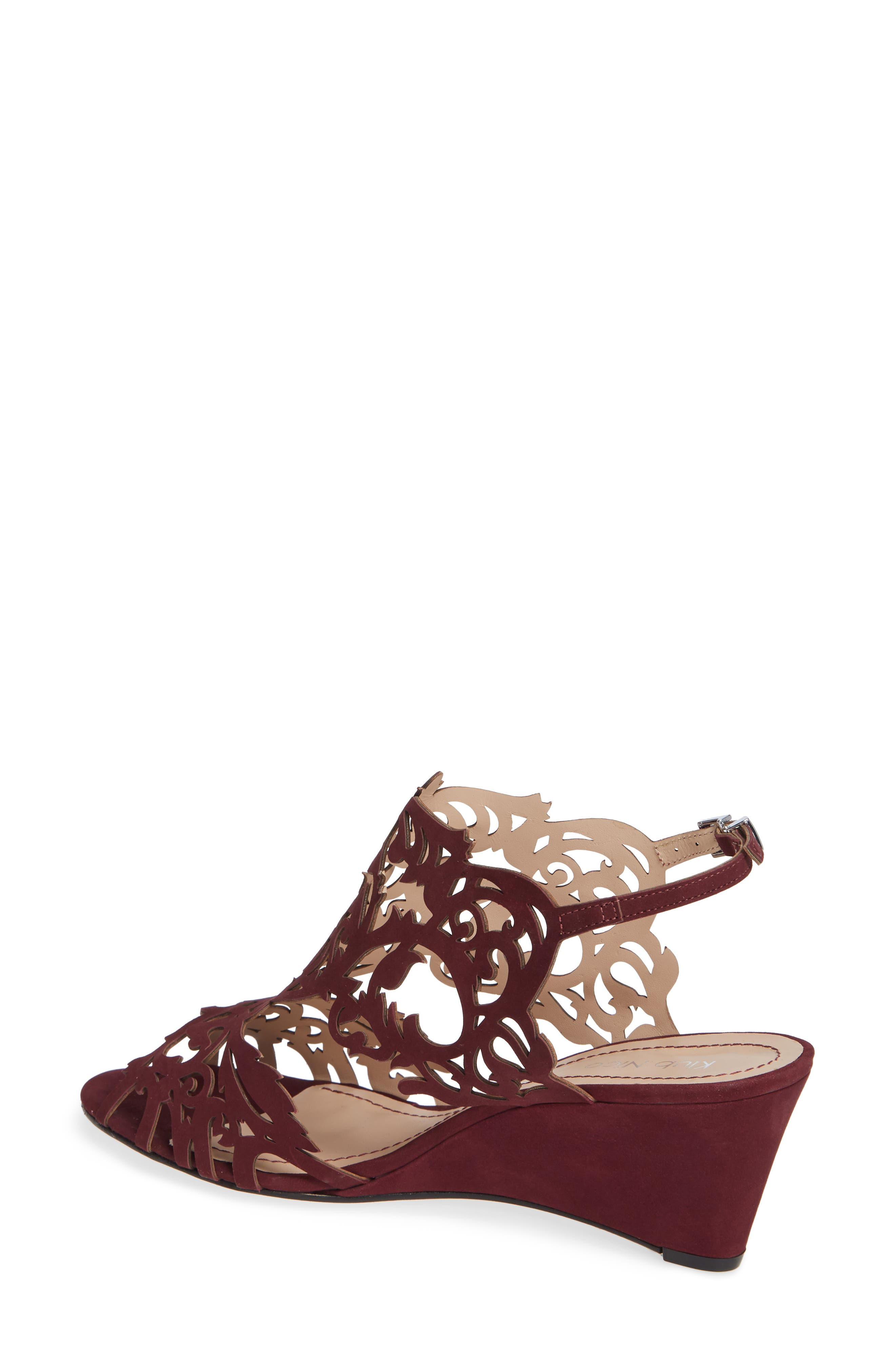 Marcela Laser Cutout Wedge Sandal,                             Alternate thumbnail 2, color,                             WINE LEATHER