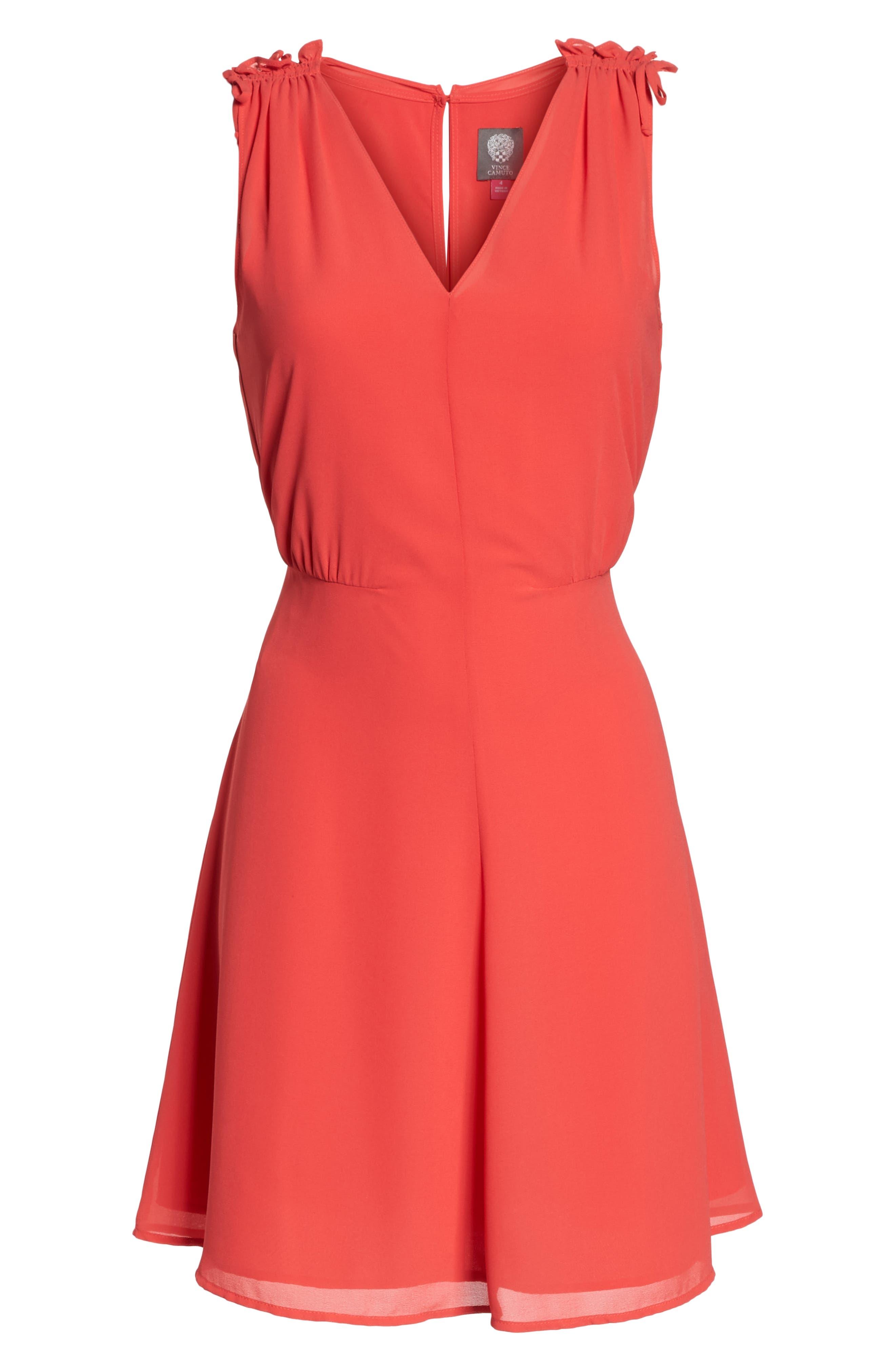 Soufflé V-Neck Chiffon Dress,                             Alternate thumbnail 7, color,                             STRAWBERRY