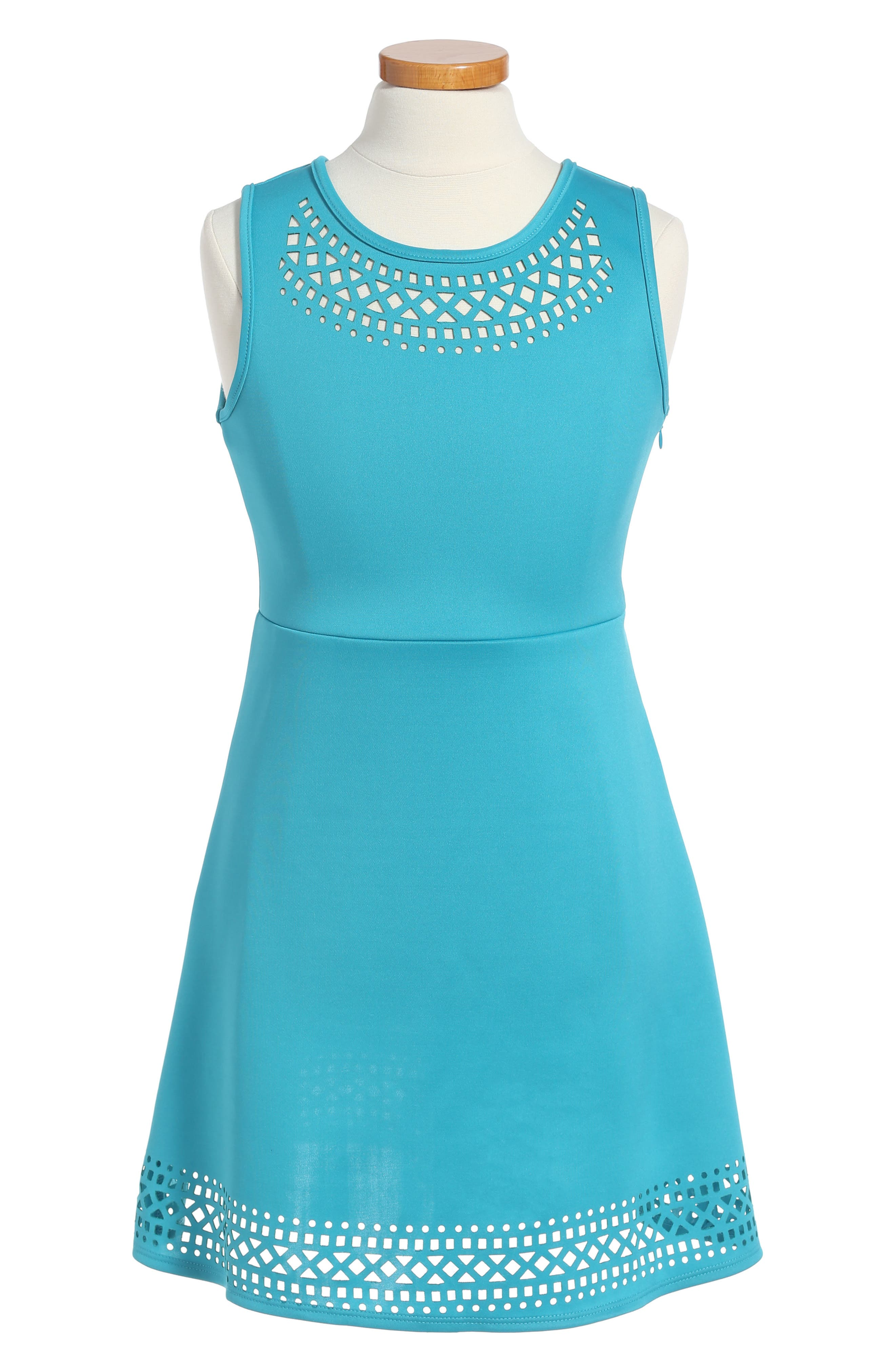 Lazer Cut Fit & Flare Dress,                             Main thumbnail 1, color,                             351