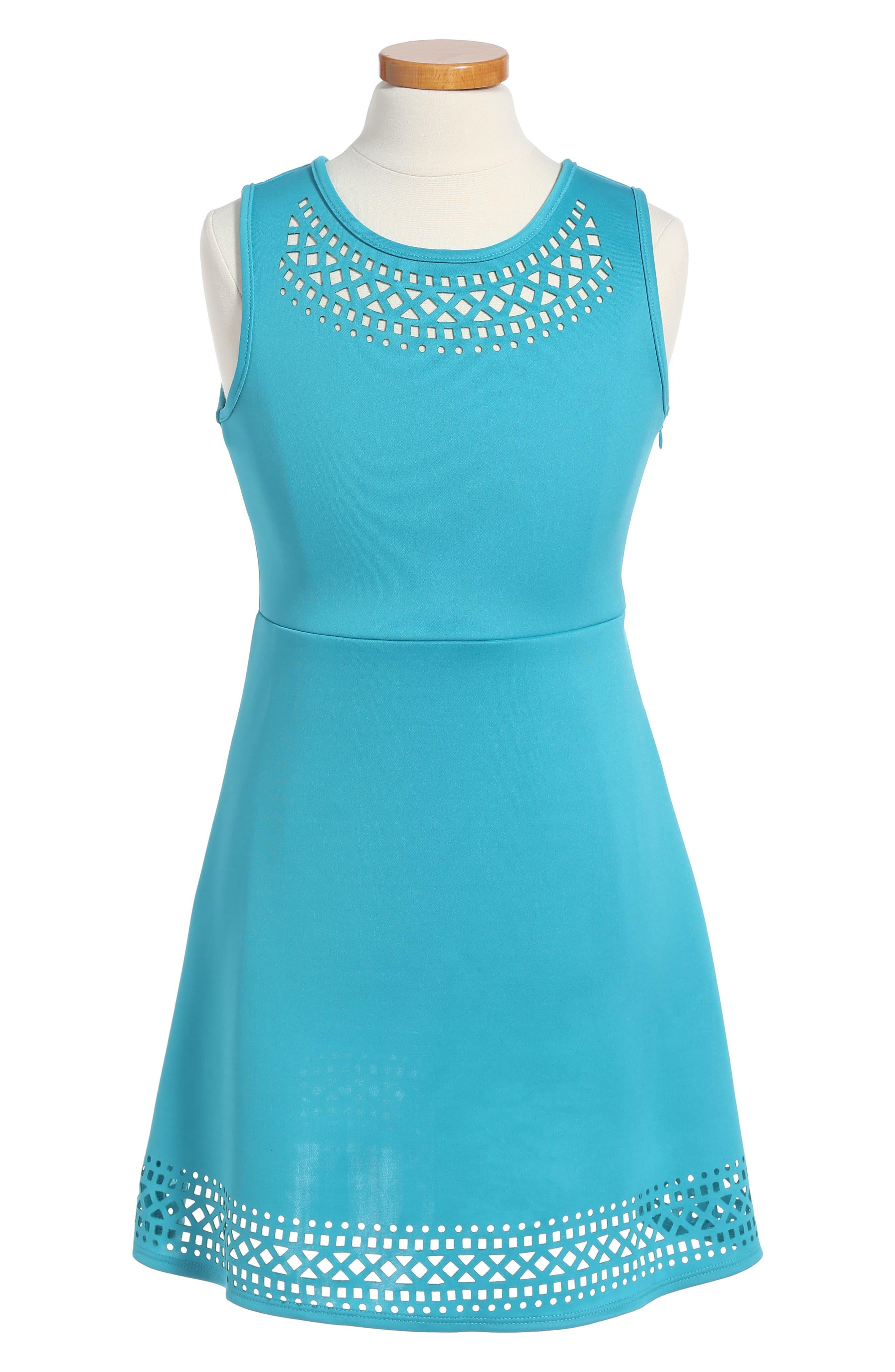 Lazer Cut Fit & Flare Dress,                         Main,                         color, 351