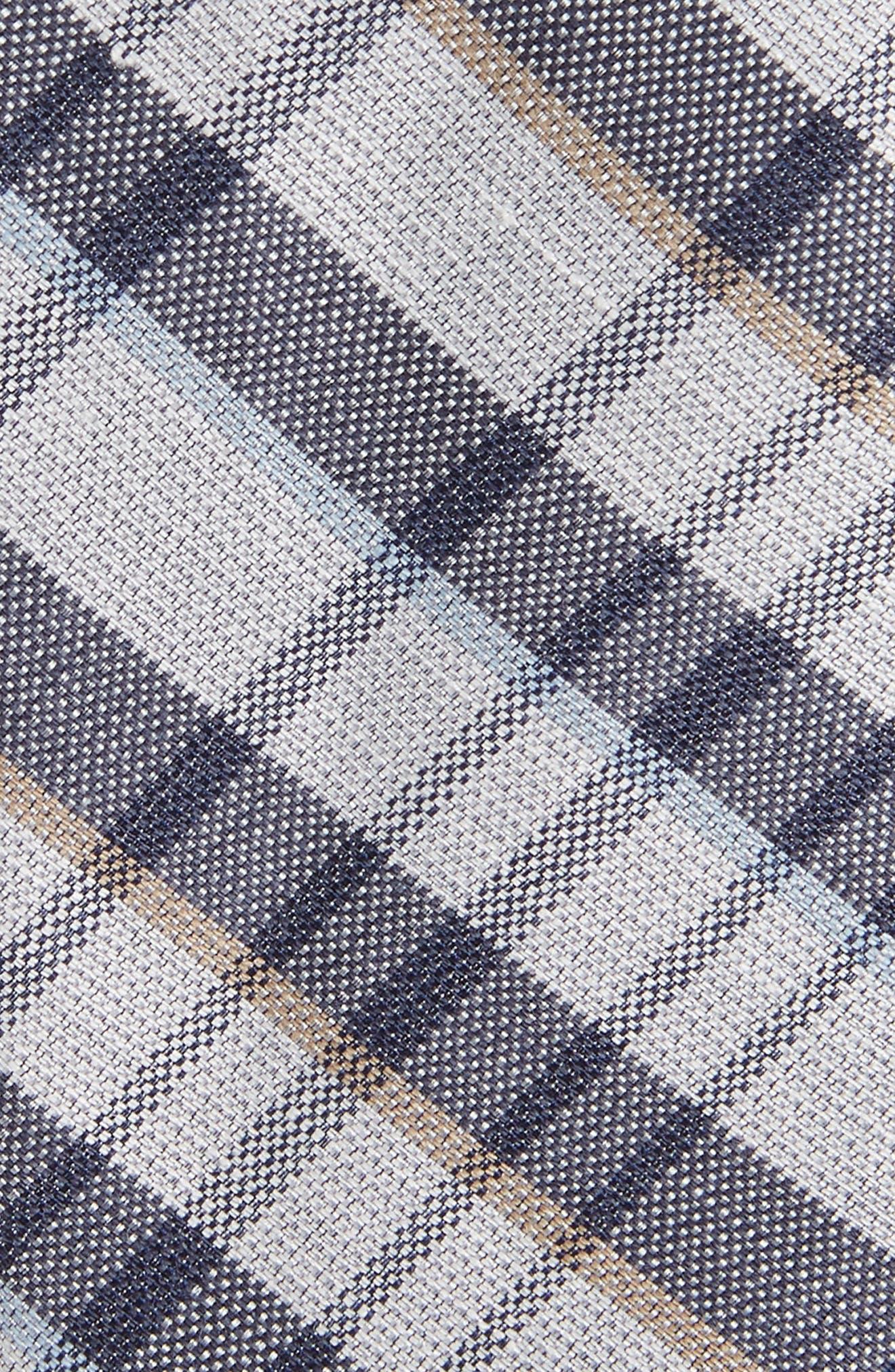 Duffy Plaid Linen & Silk Tie,                             Alternate thumbnail 2, color,                             410