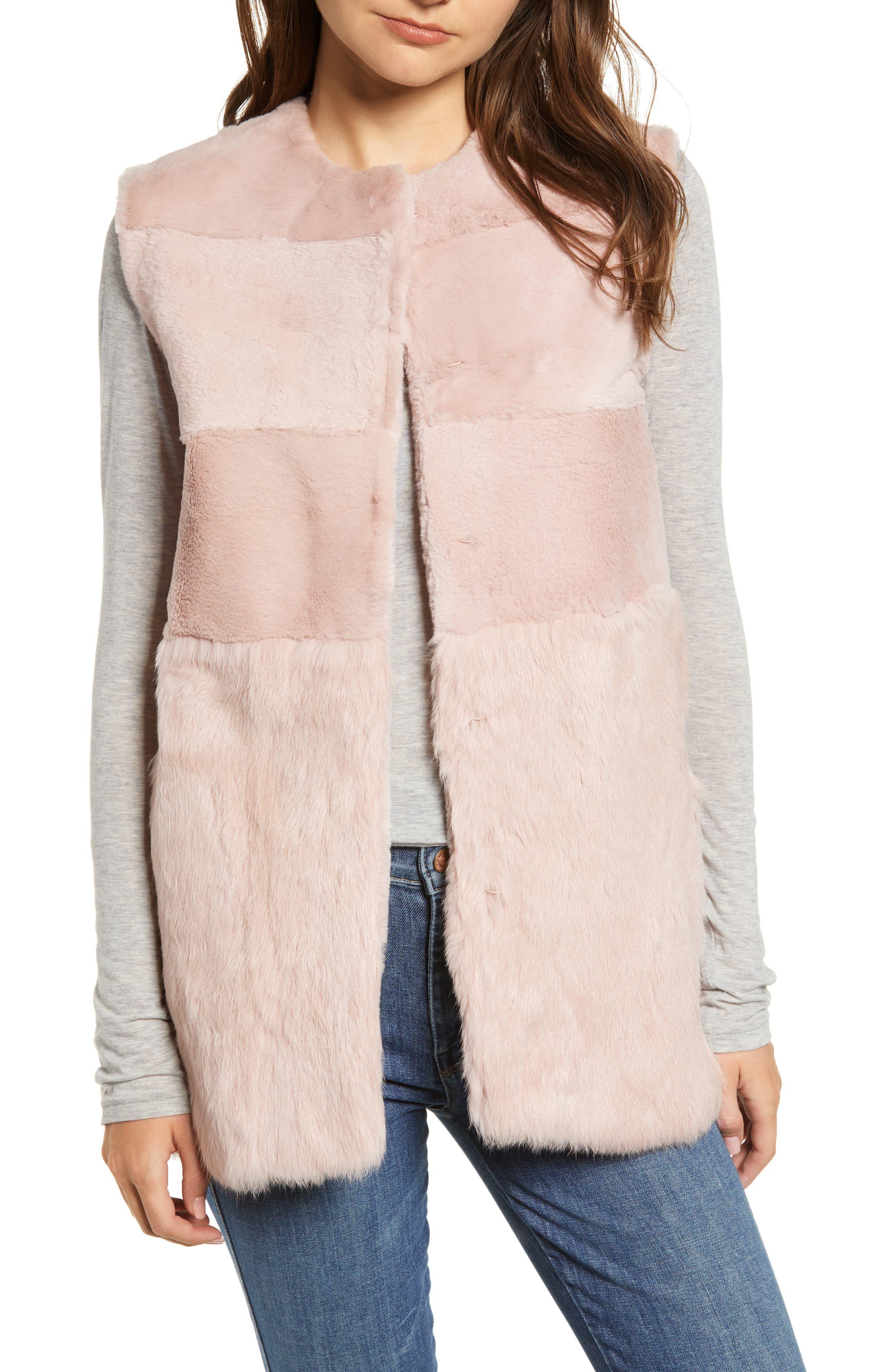 Collarless Genuine Rabbit Fur Vest,                         Main,                         color, 695