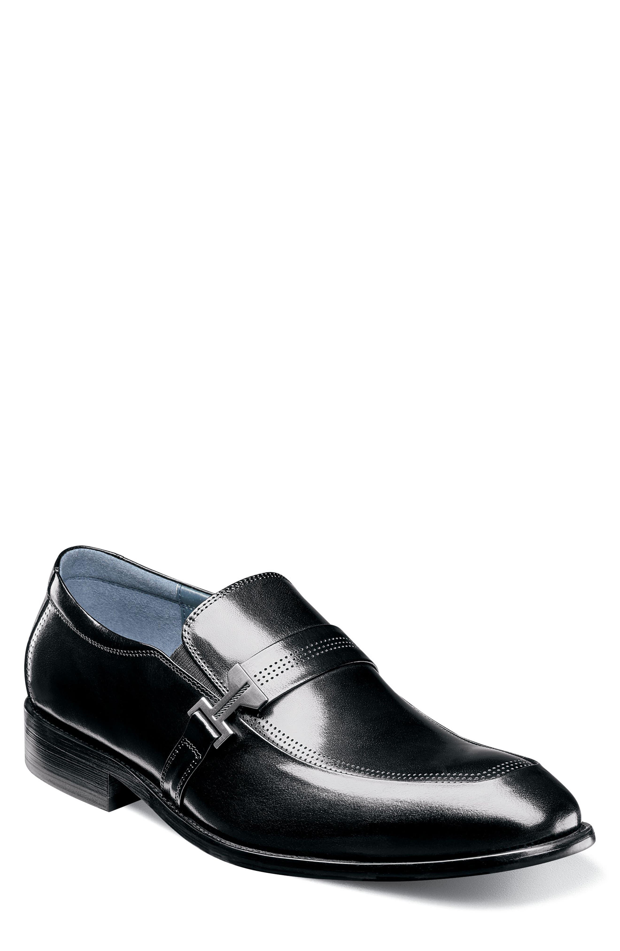 Jonas Apron Toe Slip-On,                         Main,                         color, BLACK LEATHER