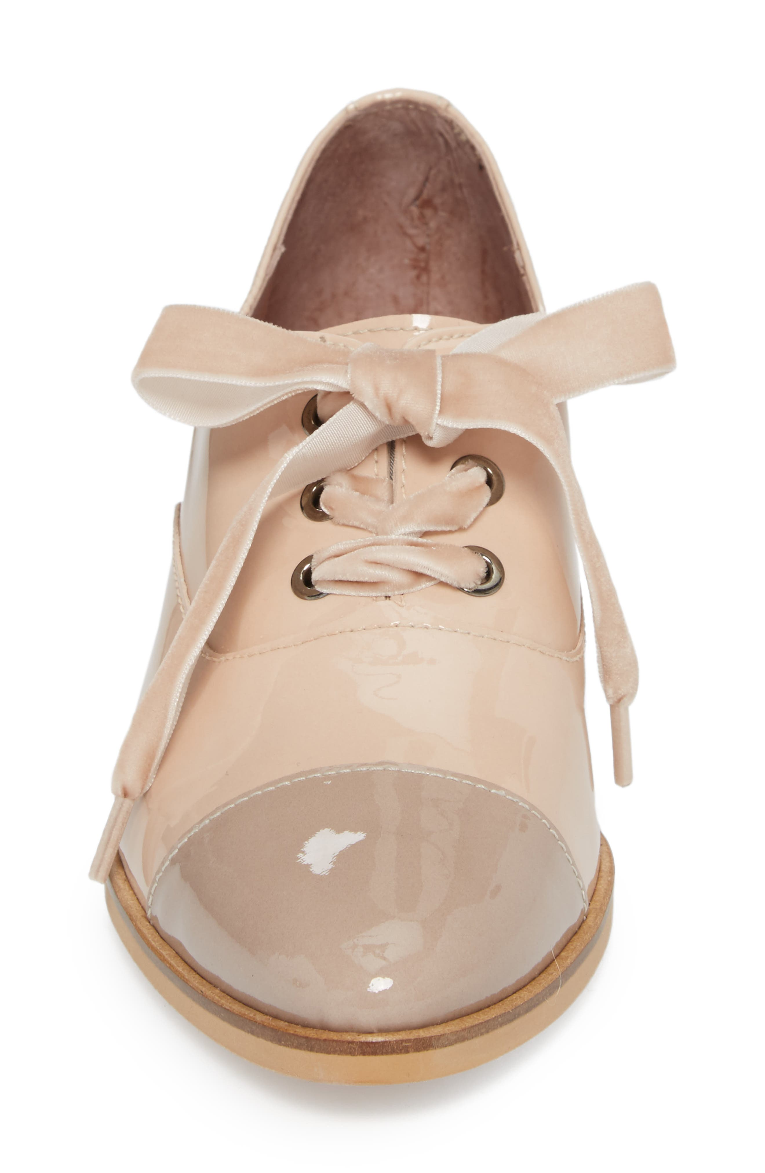 Lace-Up Oxford Pump,                             Alternate thumbnail 4, color,                             TAUPE/ PALO PATENT LEATHER