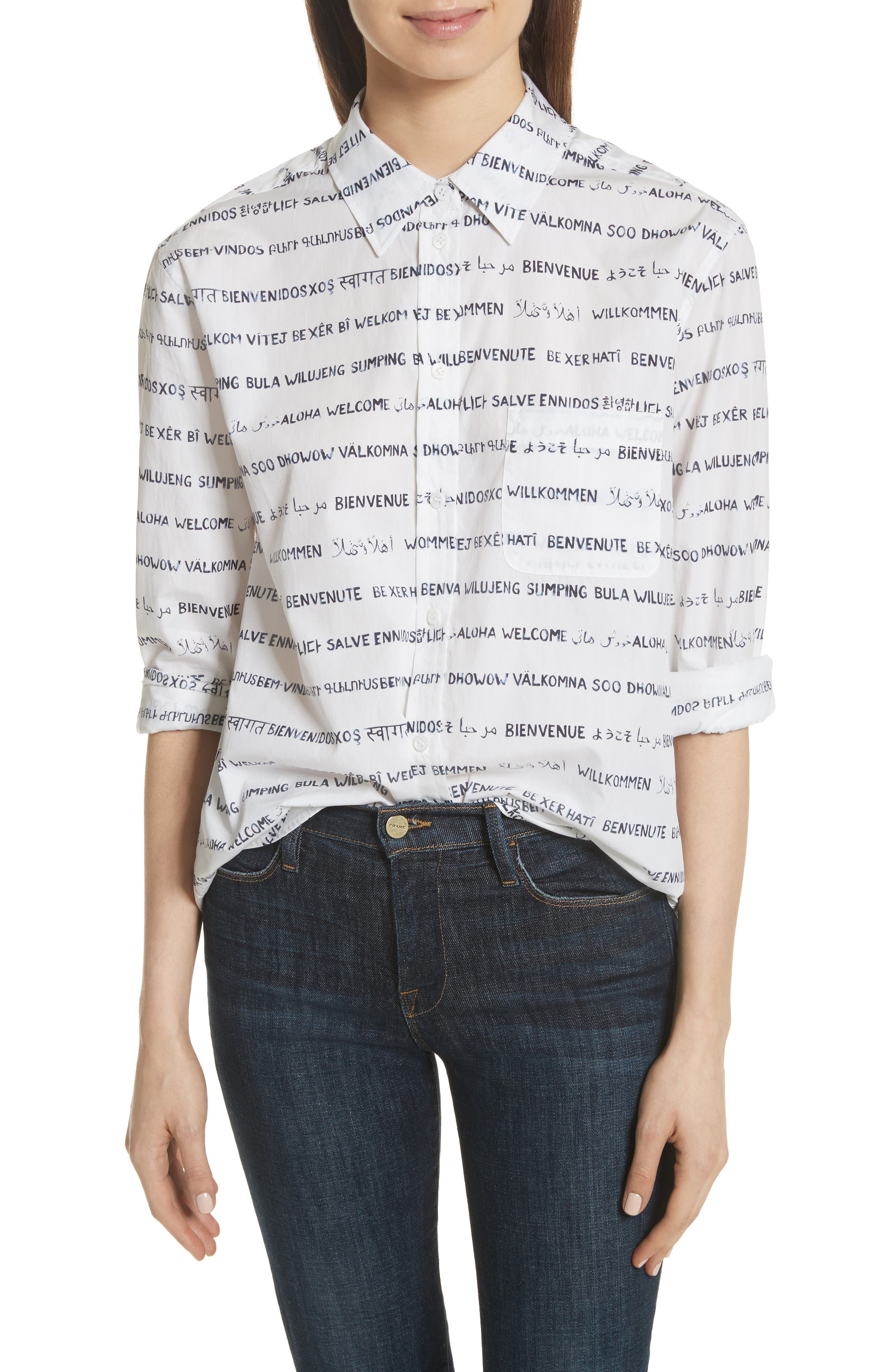 Kenton Graphic Stripe Cotton Shirt,                             Main thumbnail 1, color,                             125