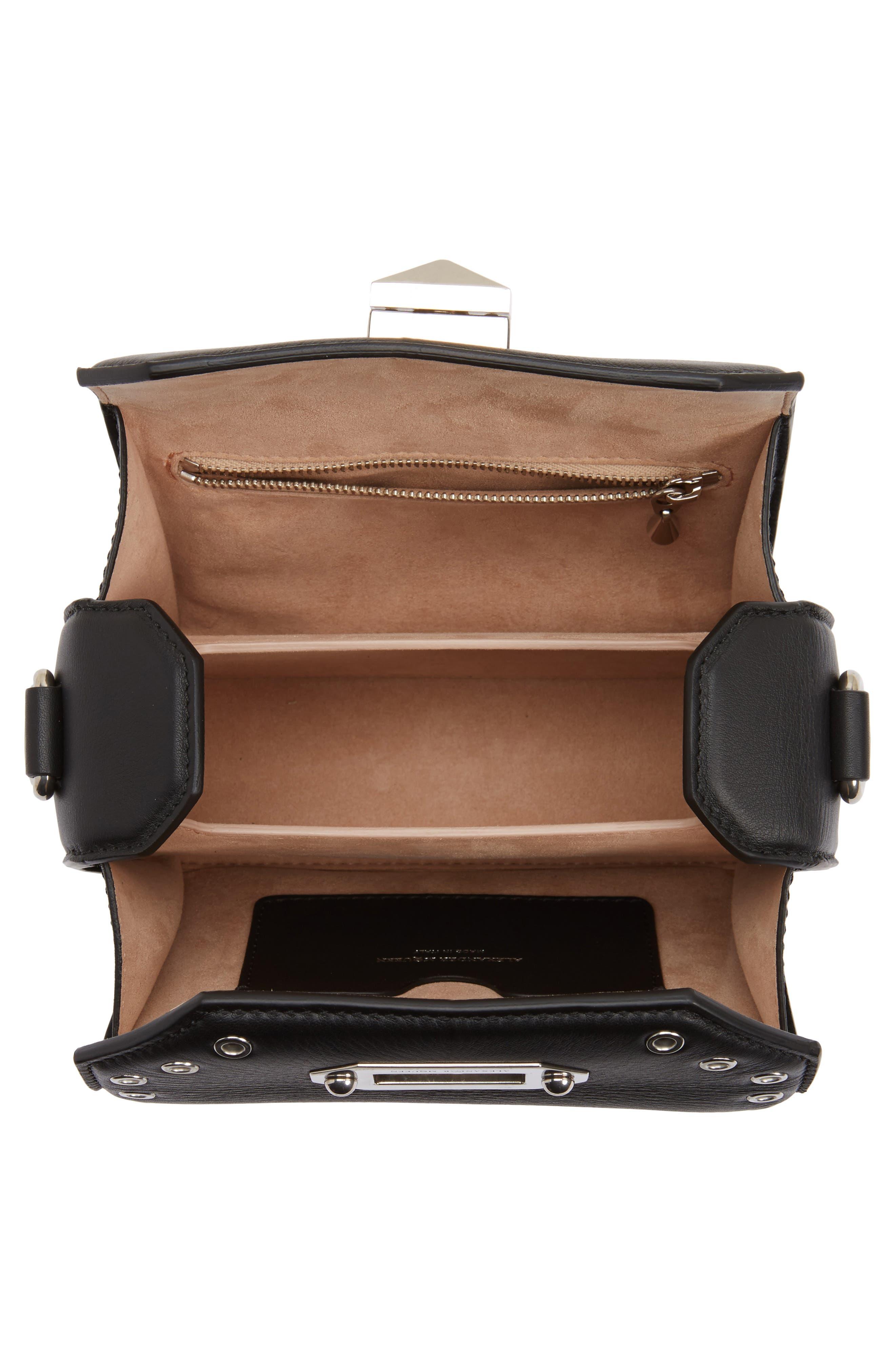 Mini Box Grommet Leather Bag,                             Alternate thumbnail 4, color,                             001