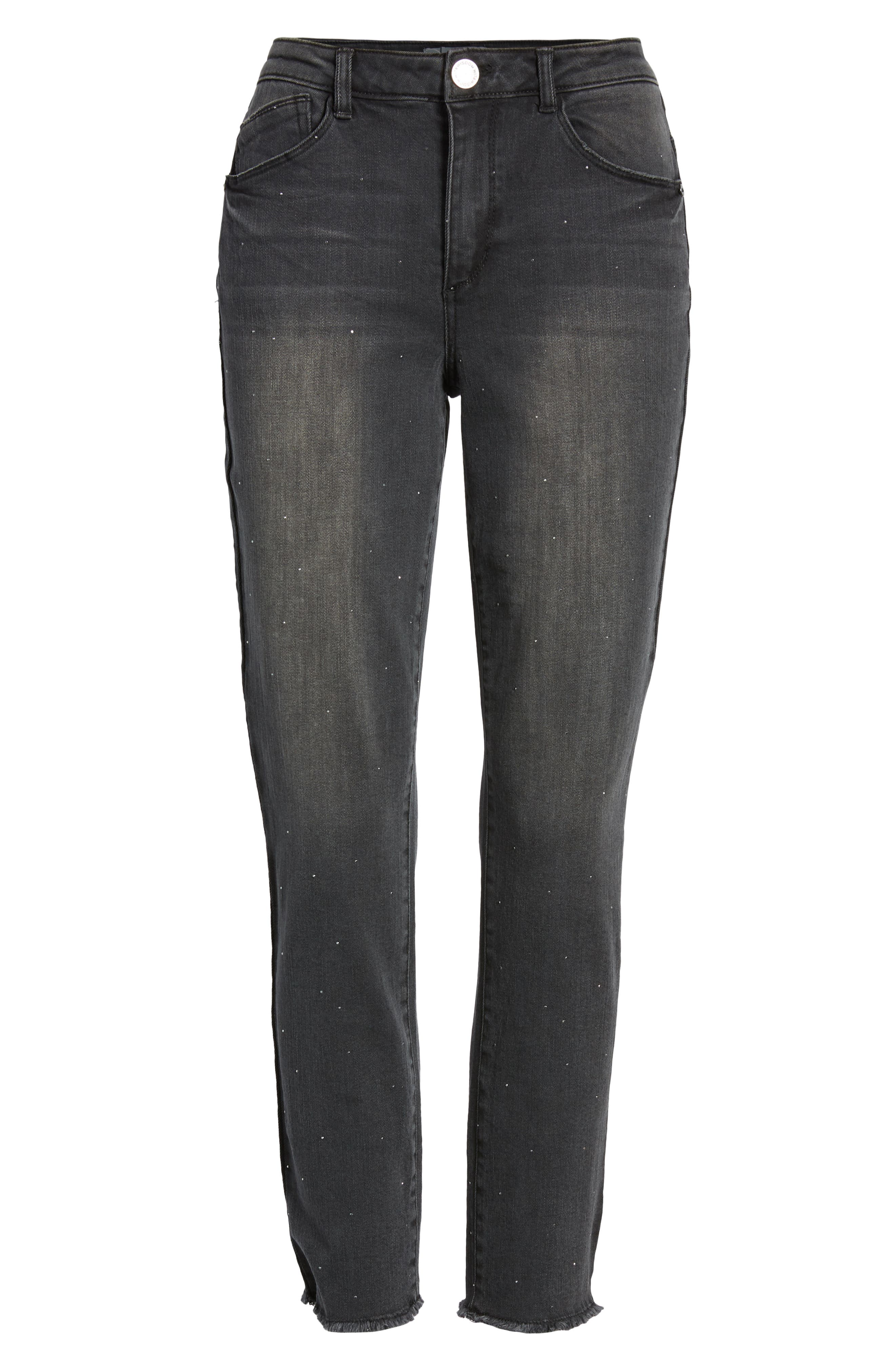 Ab-Solution Embellished Ankle Jeans,                             Alternate thumbnail 7, color,                             001
