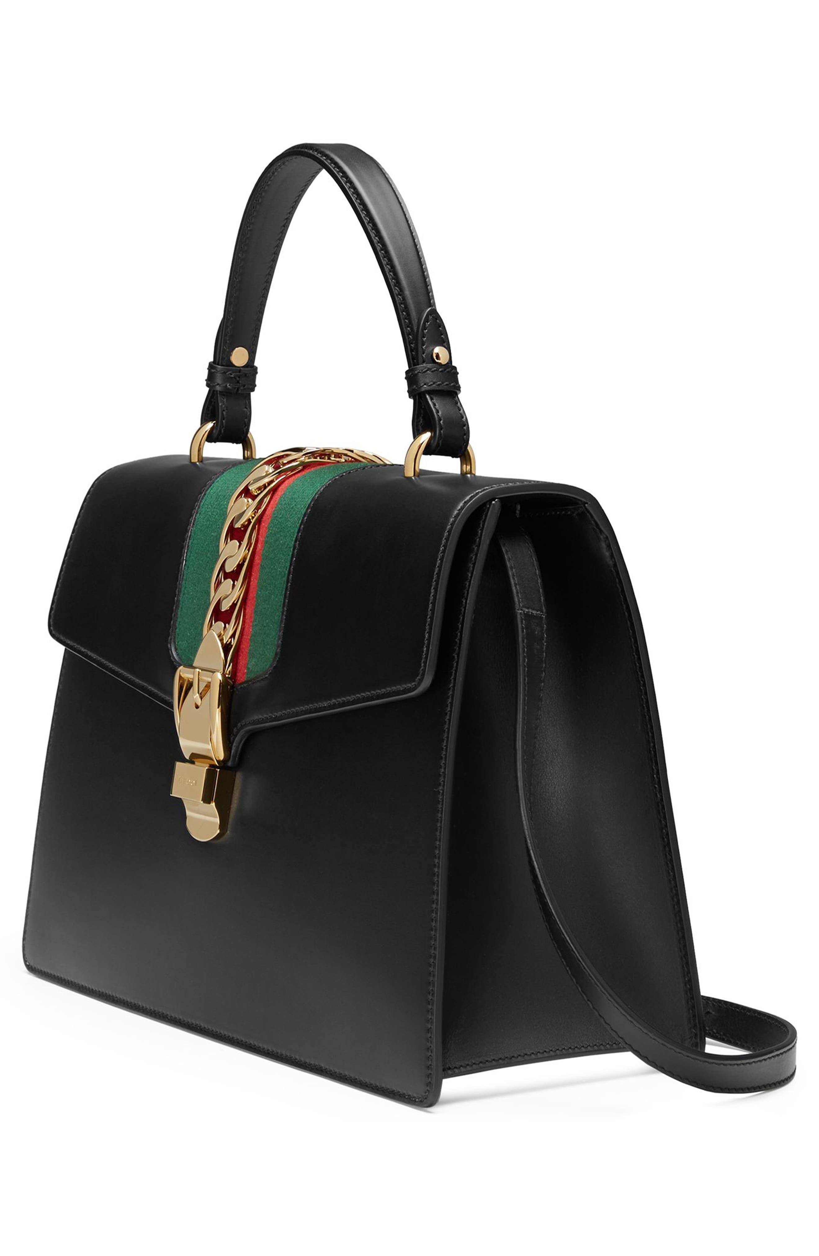 Sylvie Top Handle Leather Shoulder Bag,                             Alternate thumbnail 4, color,                             NERO/VRV