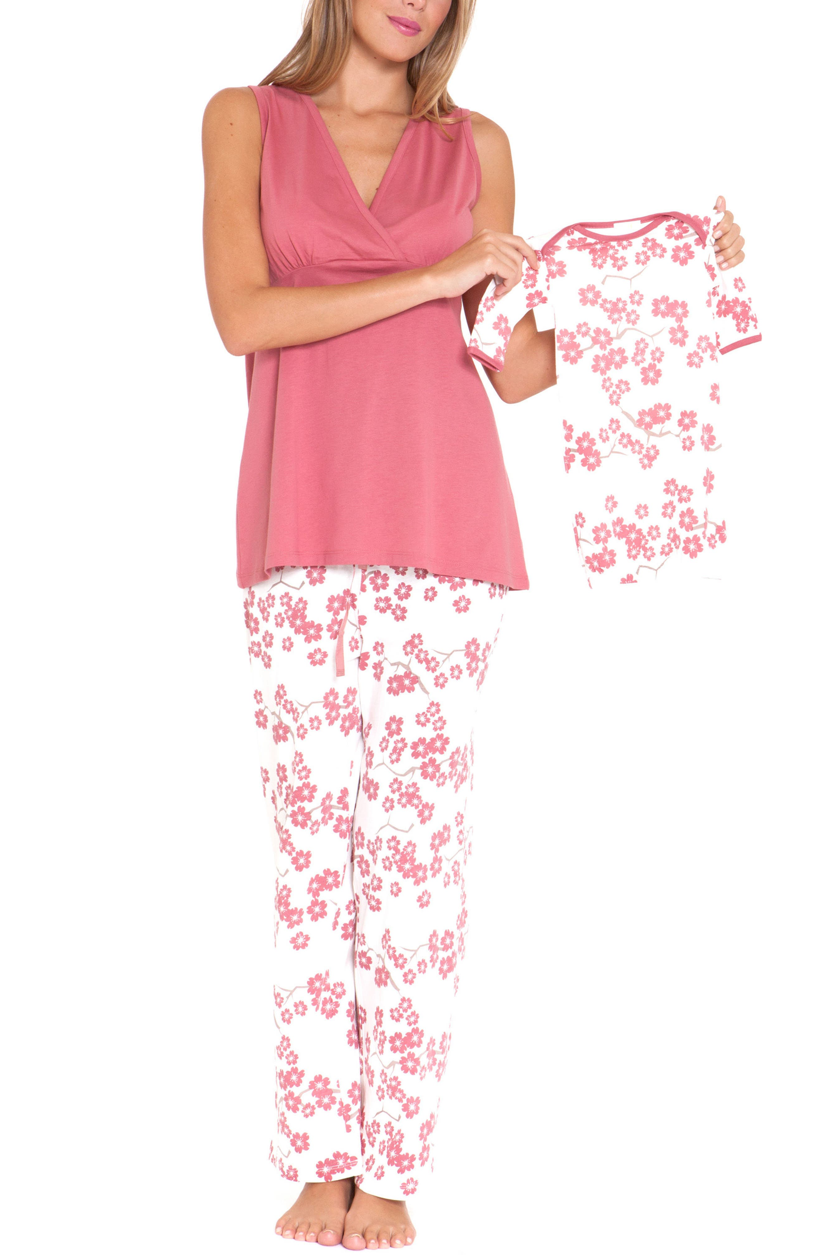 4-Piece Maternity Sleepwear Gift Set,                             Main thumbnail 1, color,                             664