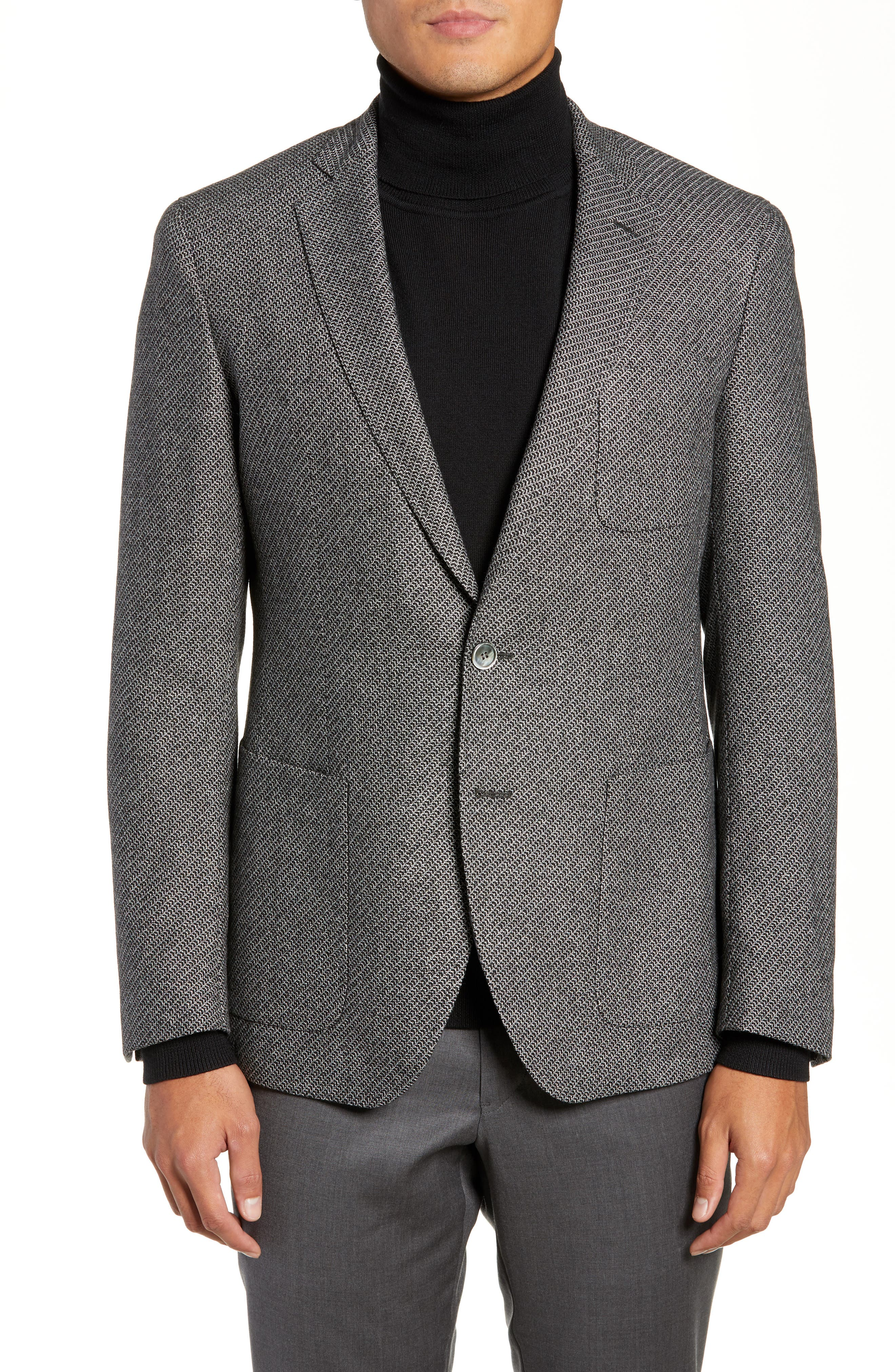BOSS Raye Extra Trim Fit Wool Blend Sport Coat, Main, color, DARK GREY