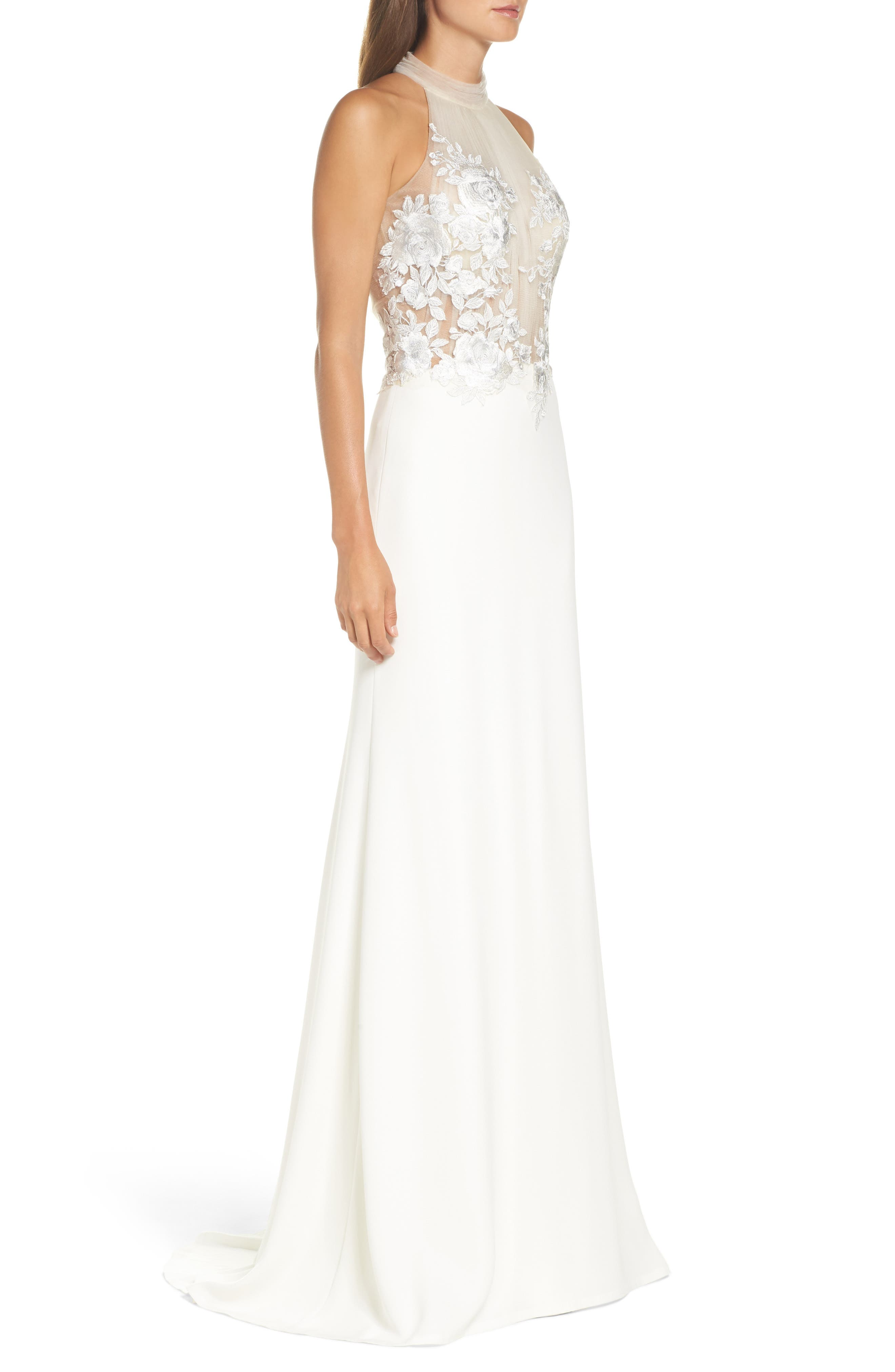 Embroidered Halter Trumpet Gown,                             Alternate thumbnail 3, color,                             IVORY