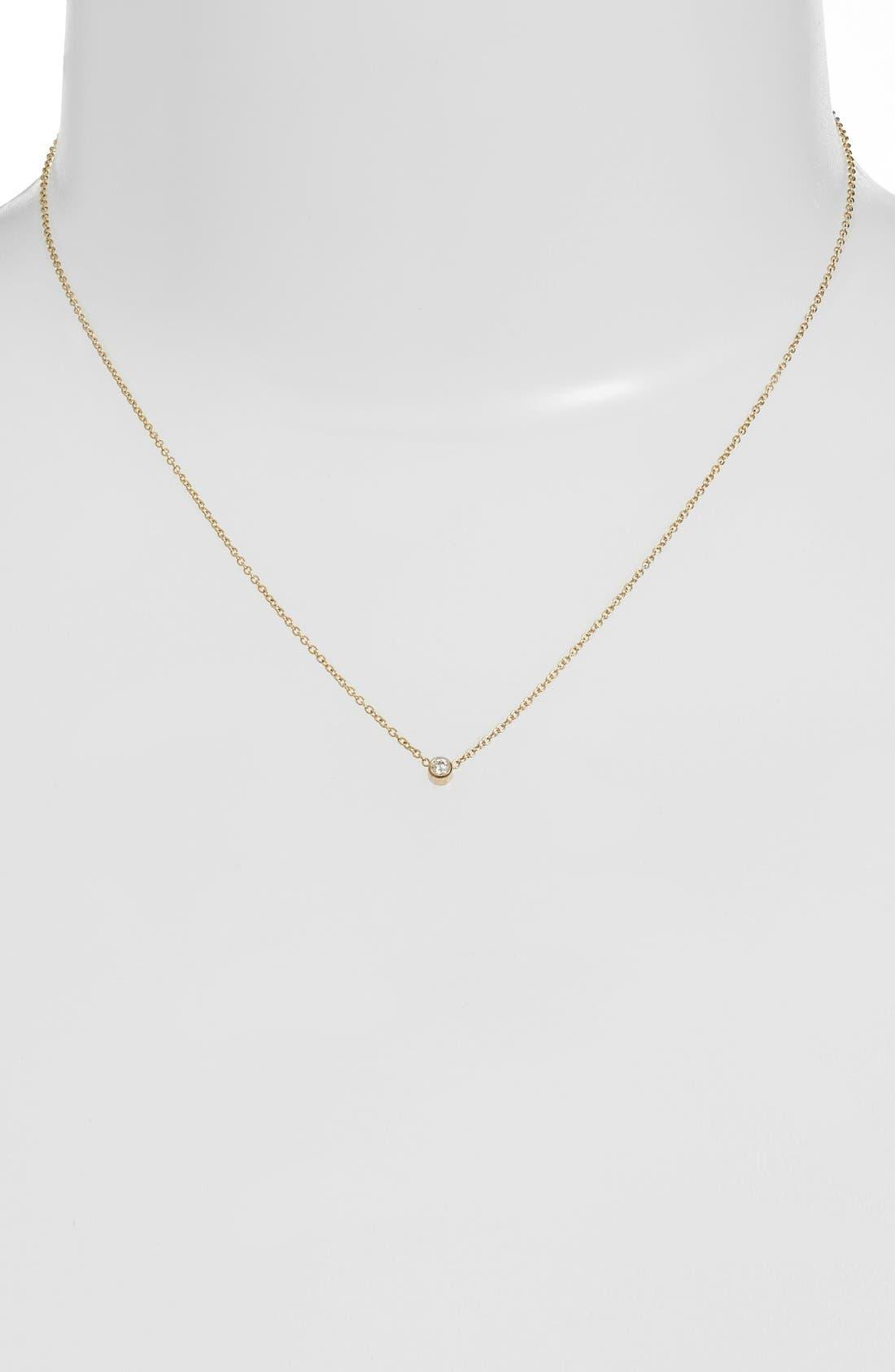 Diamond Bezel Pendant Necklace,                             Alternate thumbnail 6, color,                             YELLOW GOLD