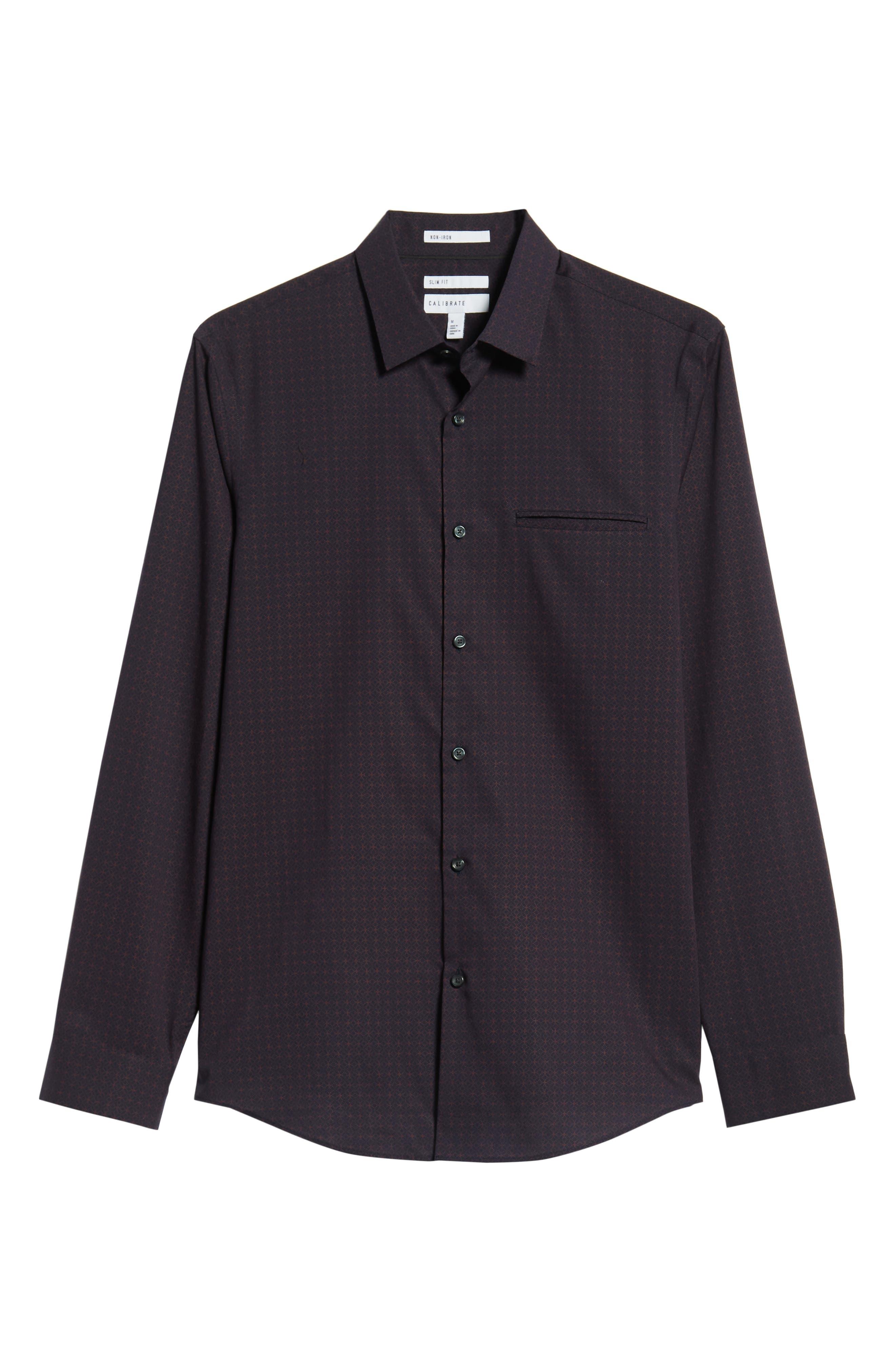 Slim Fit Print Non Iron Sport Shirt,                             Alternate thumbnail 6, color,                             NAVY NIGHT BURGUNDY GEO