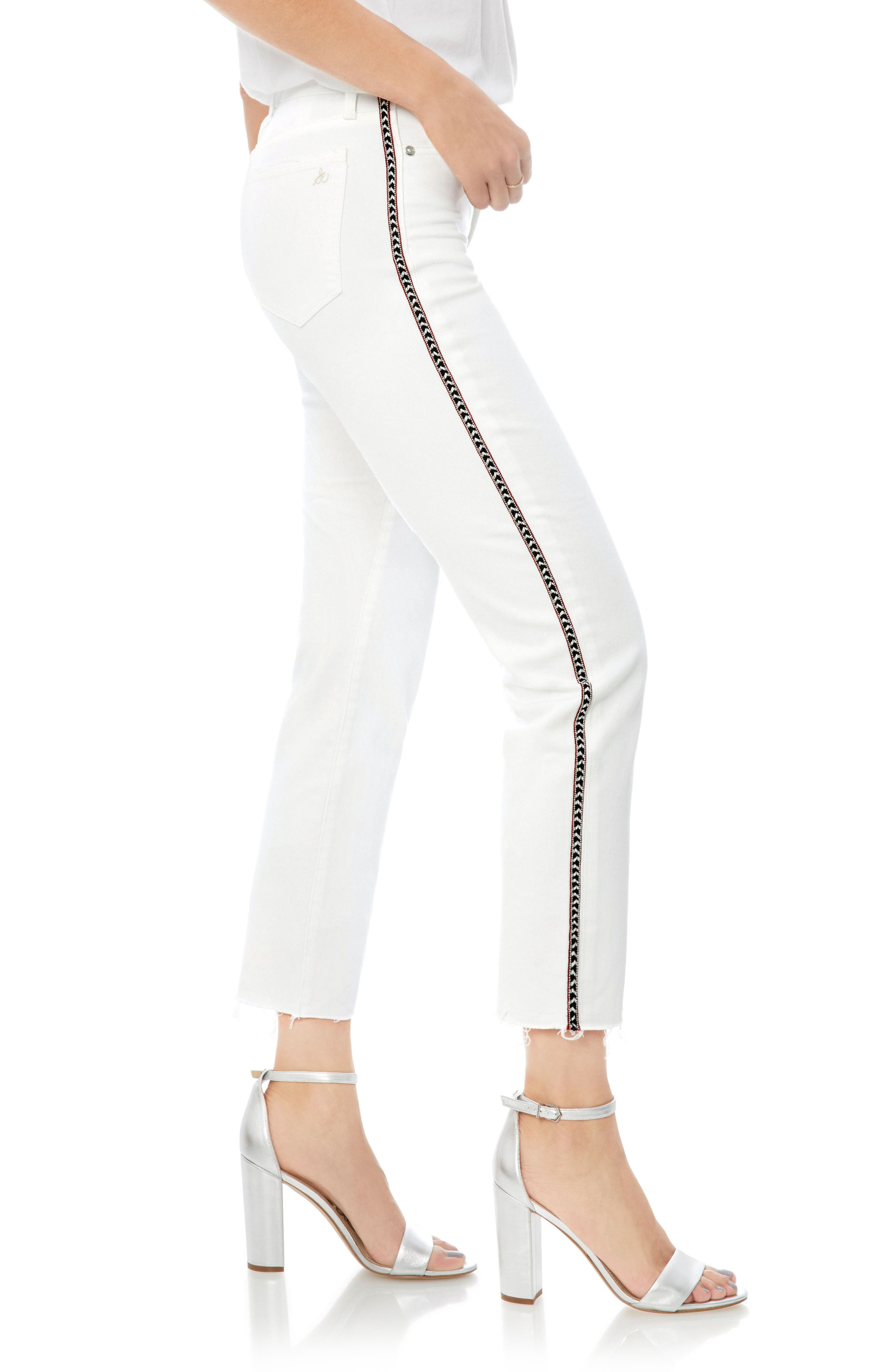 Mary Jane Embroidered Raw Edge Crop Jeans,                             Alternate thumbnail 3, color,                             100