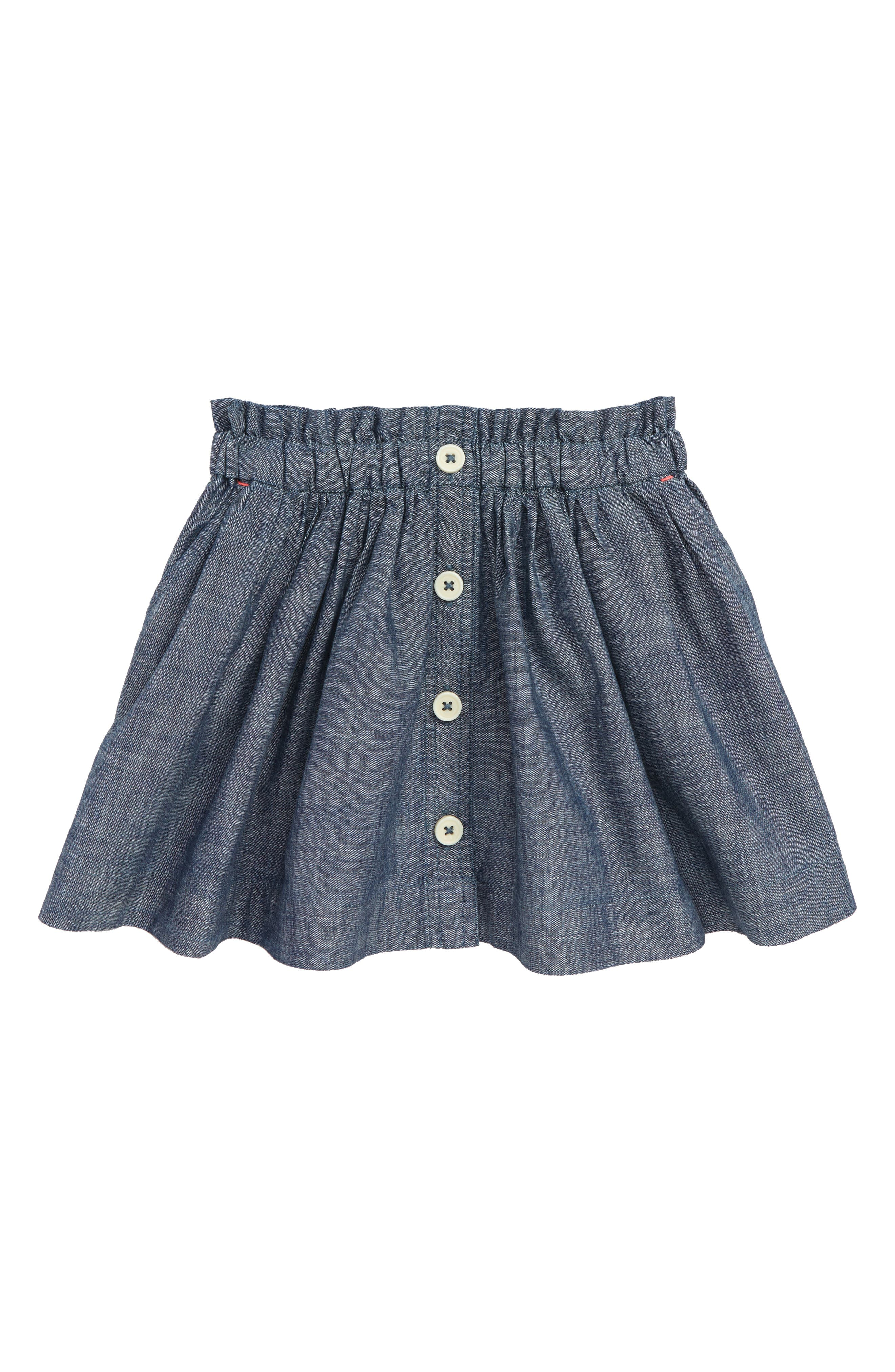 Chambray Button Front Skirt,                             Main thumbnail 1, color,                             400