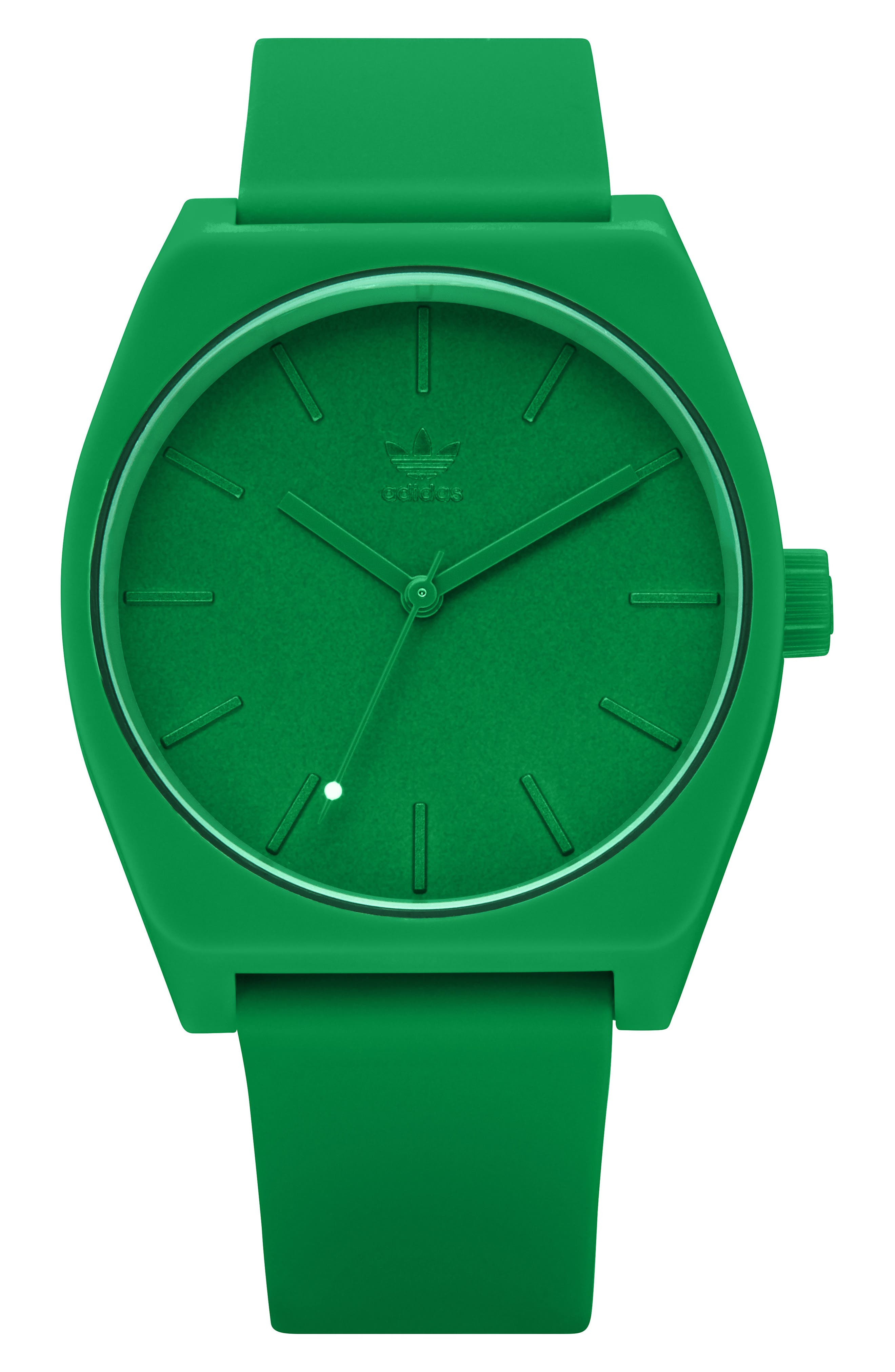 ADIDAS,                             Process Silicone Strap Watch, 38mm,                             Main thumbnail 1, color,                             GREEN