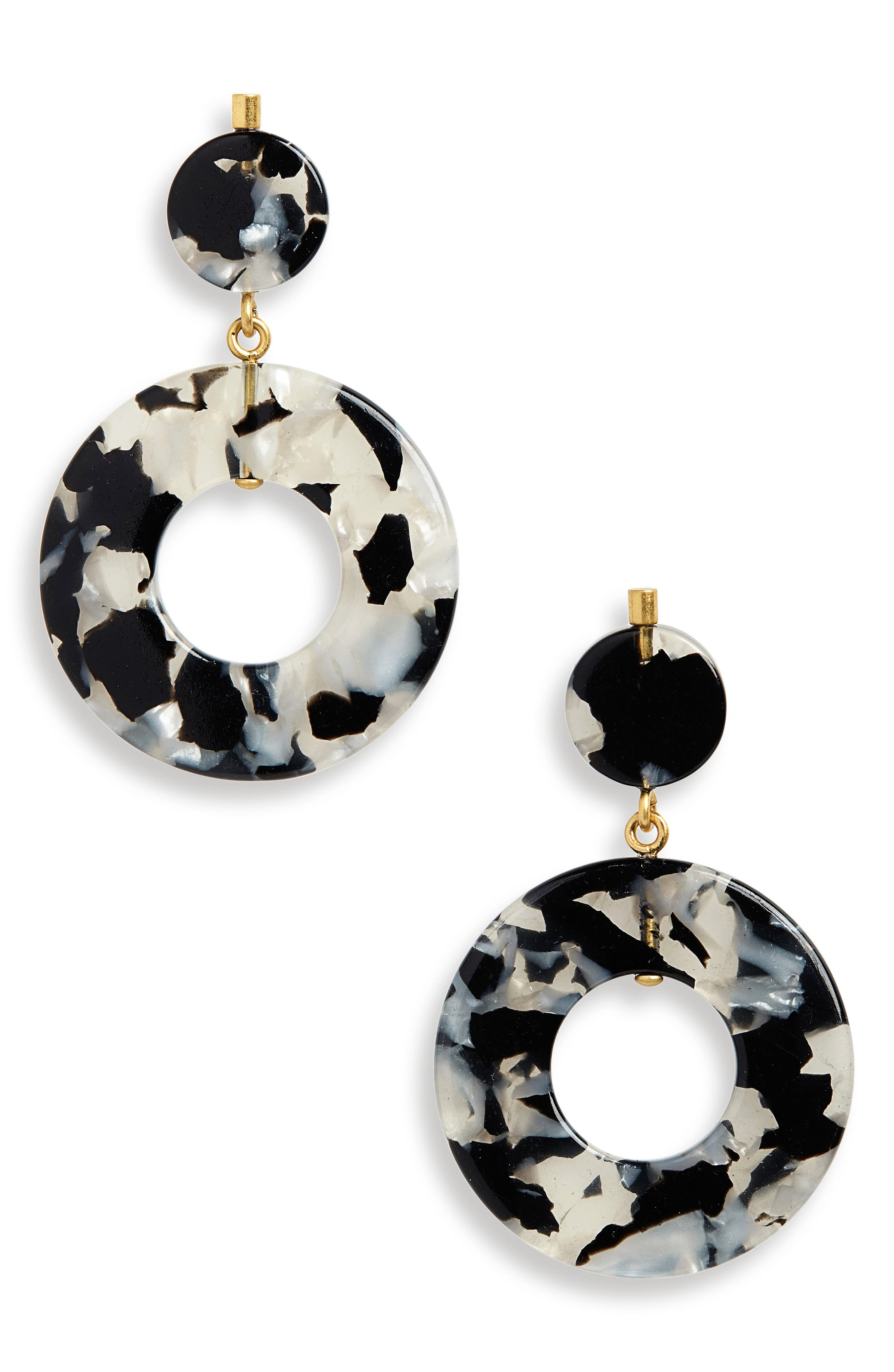 Circle Statement Earrings,                             Main thumbnail 1, color,                             SMOKEY TORT