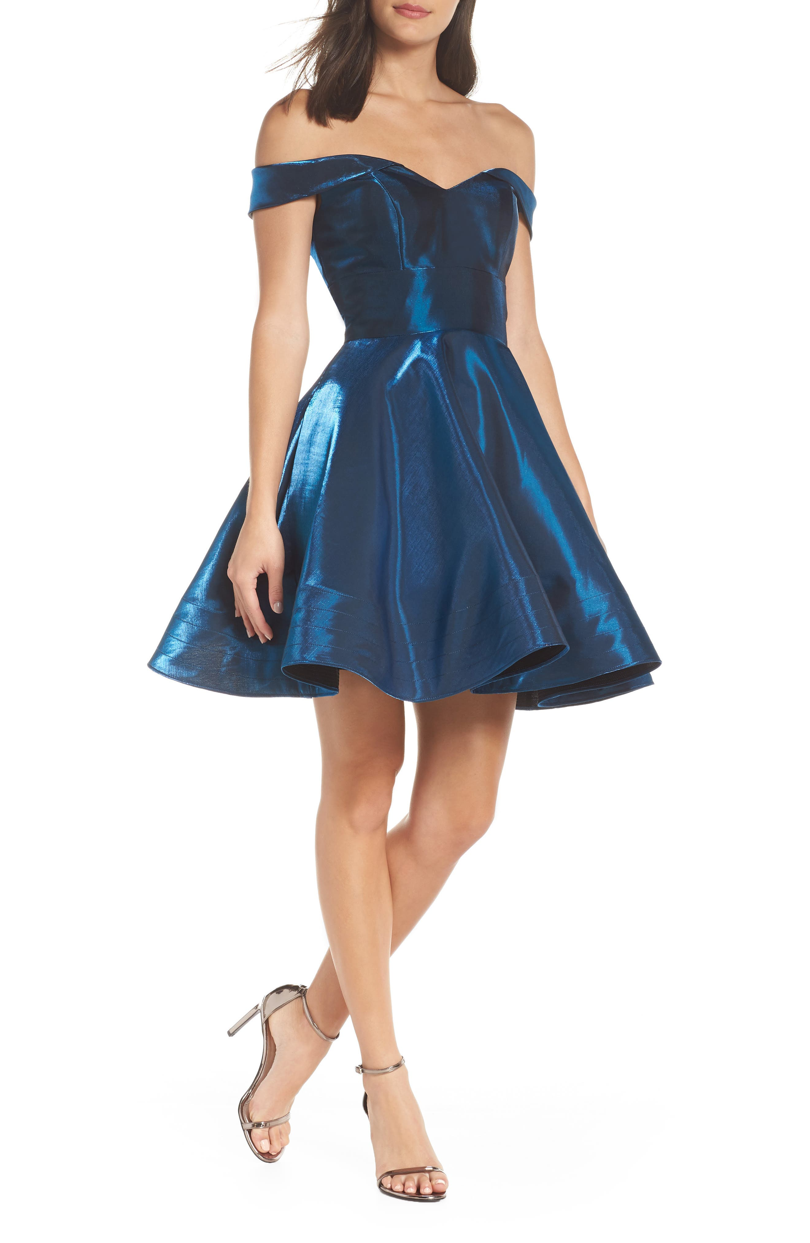 Off the Shoulder Shimmer Party Dress, Main, color, 450