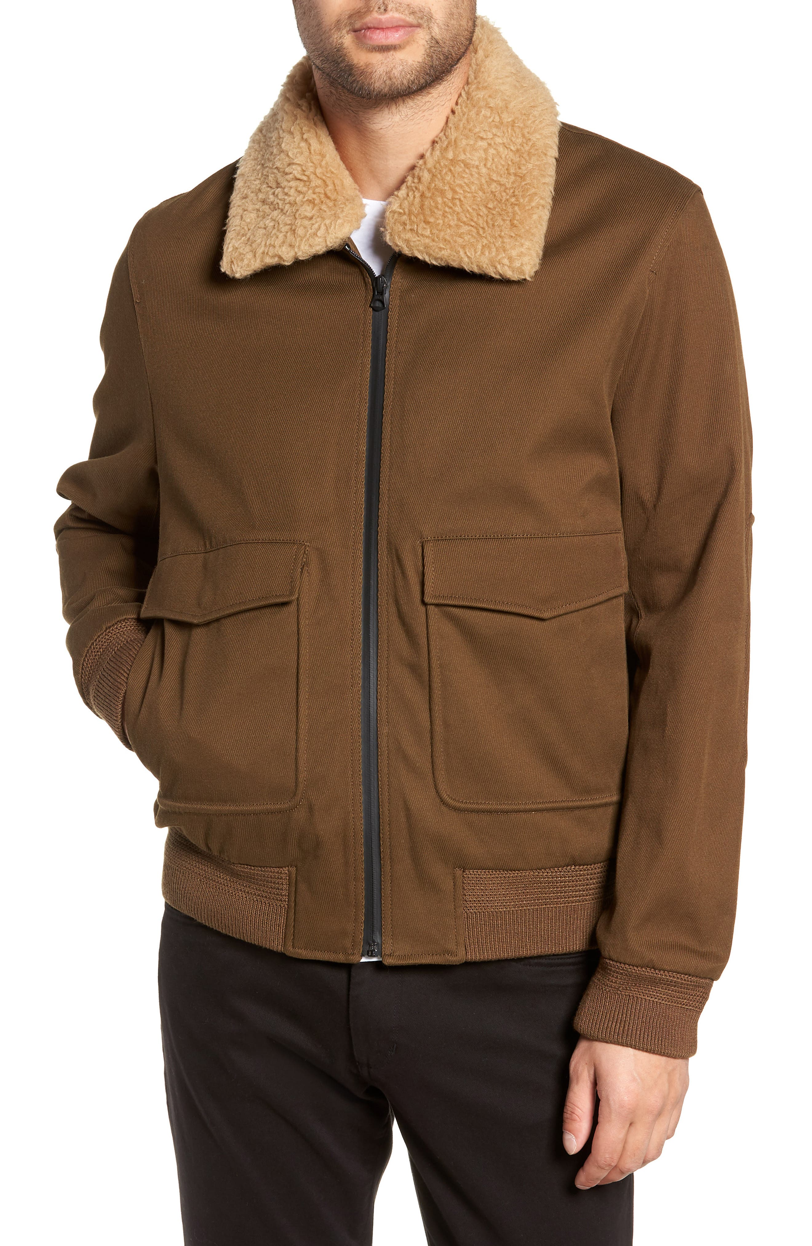 Regular Fit Bomber Jacket with Faux Shearling Collar,                             Alternate thumbnail 4, color,                             INFANTRY GREEN