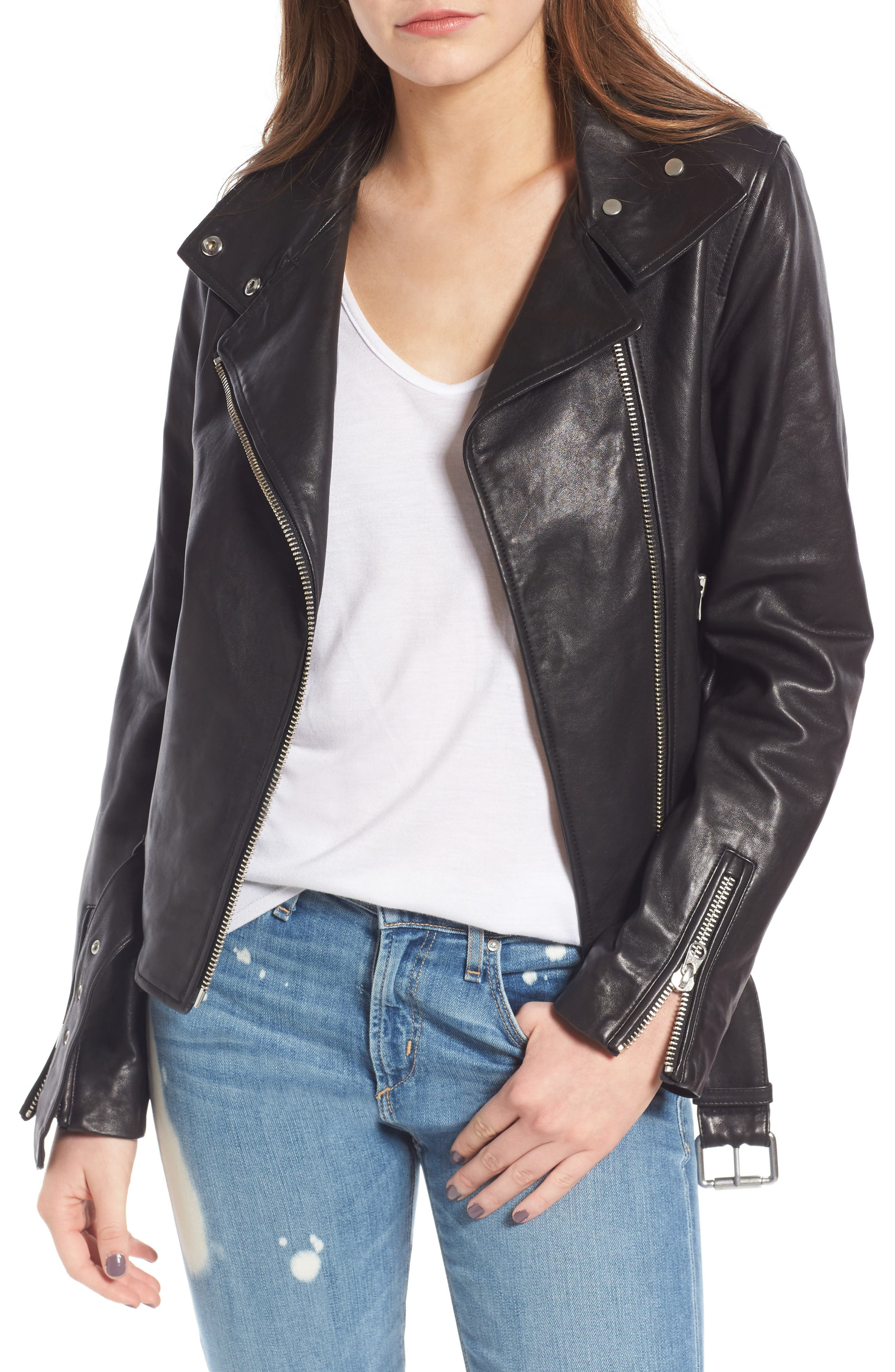 Miela-N Belted Leather Moto Jacket,                         Main,                         color, 001