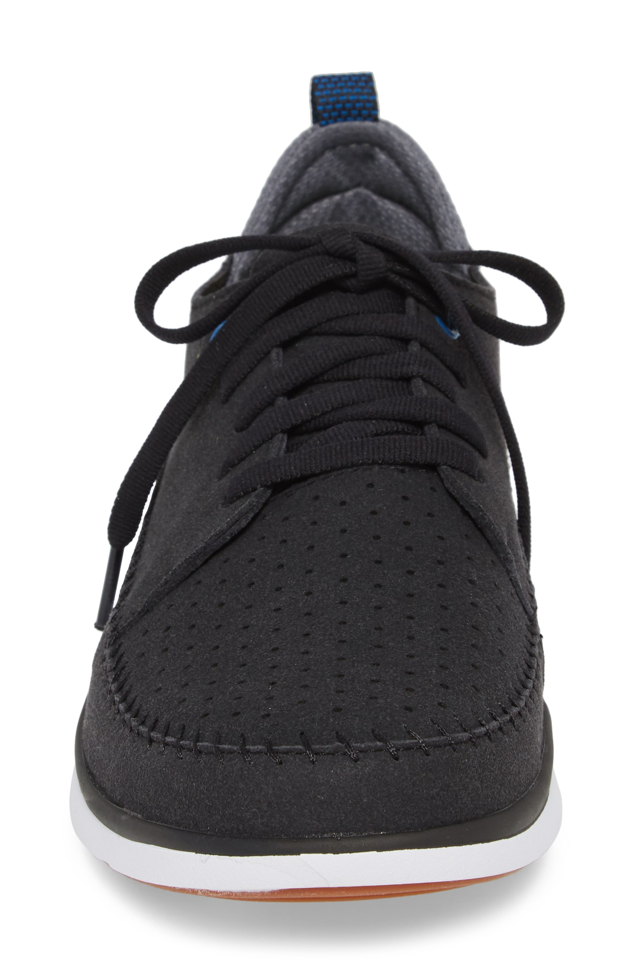 Worldwide Crane Perforated Sneaker,                             Alternate thumbnail 4, color,                             BLACK