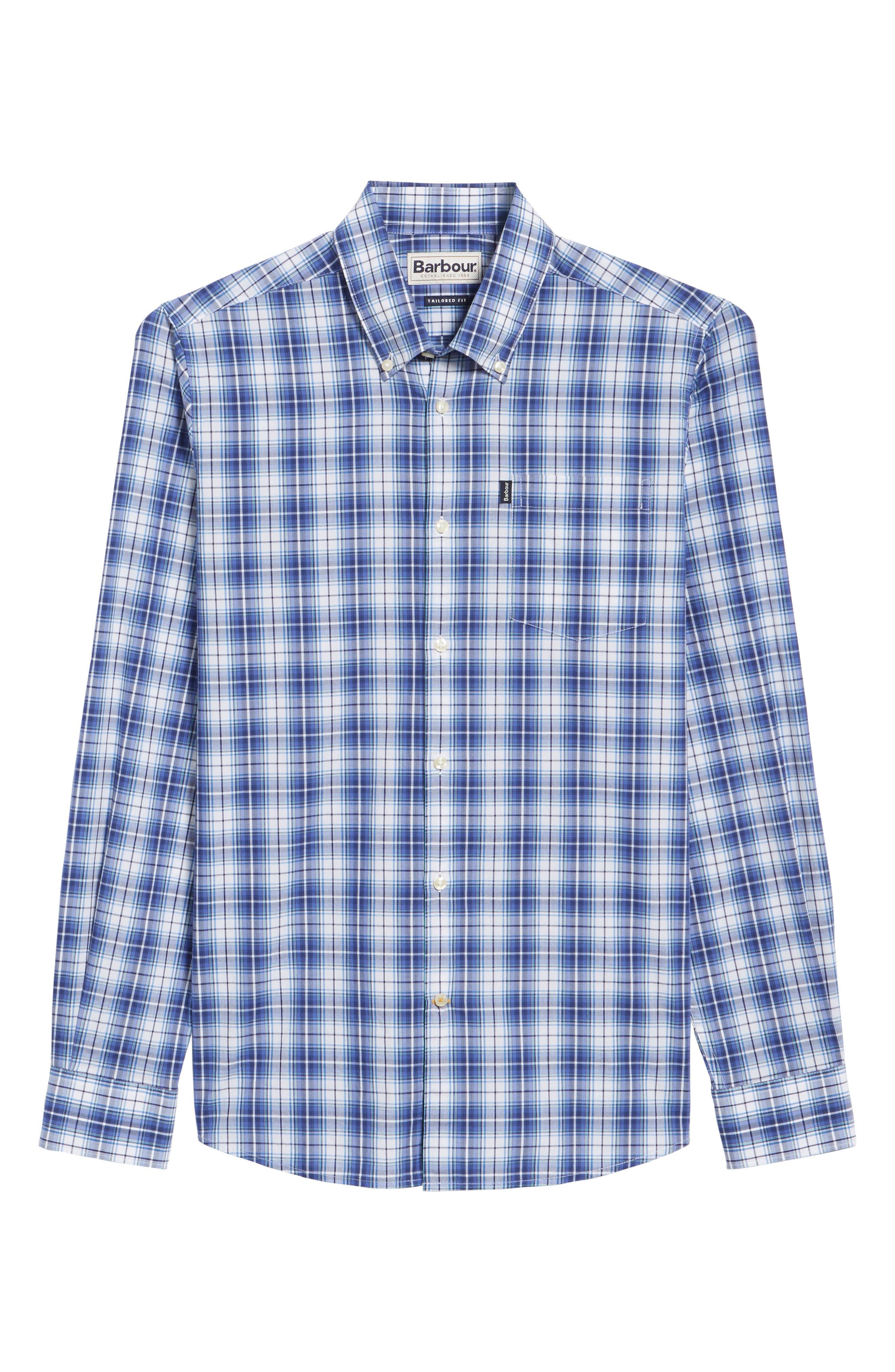 Leo Trim Fit Plaid Sport Shirt,                             Alternate thumbnail 6, color,                             420