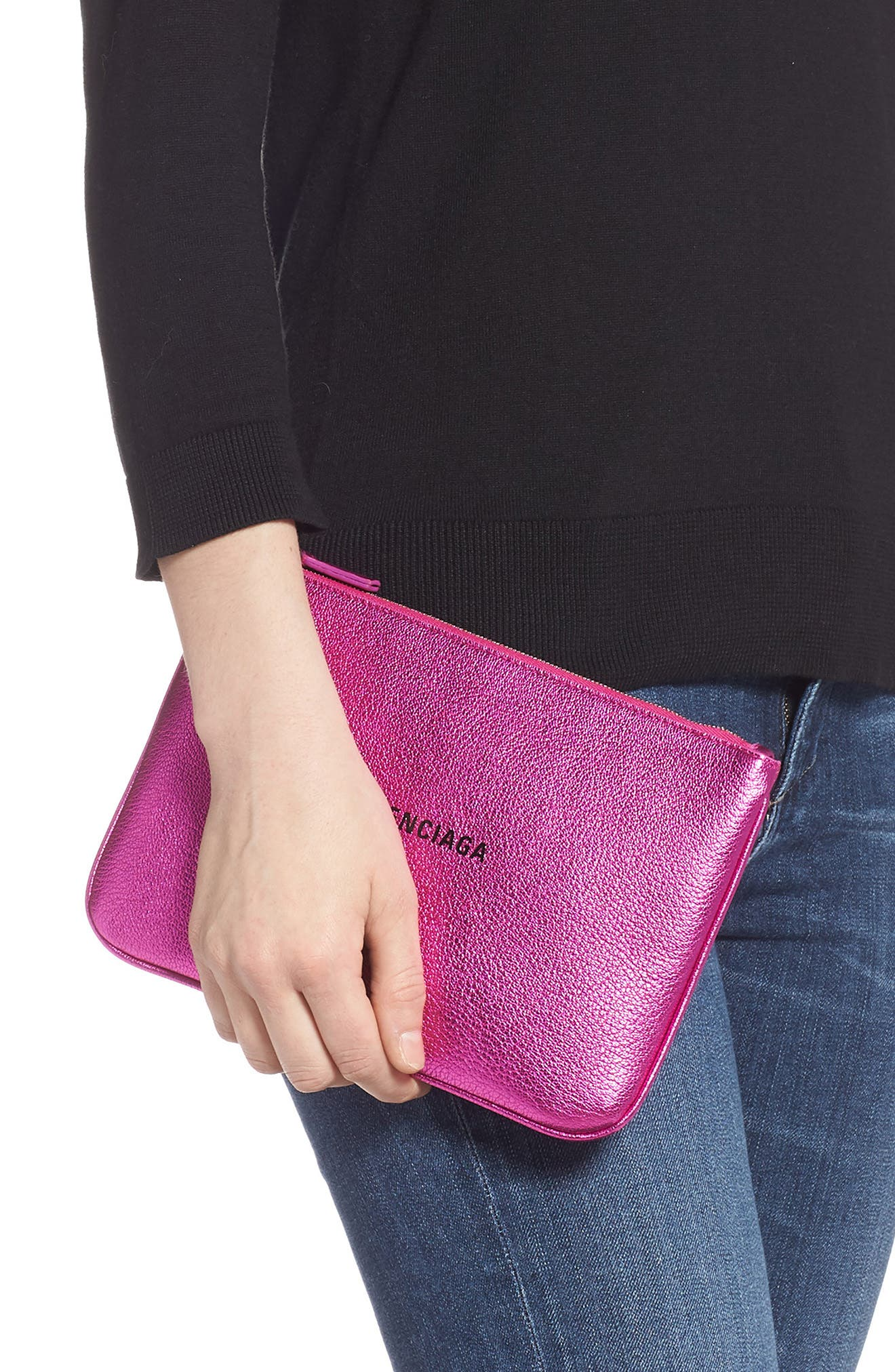 Everyday Leather Pouch,                             Alternate thumbnail 2, color,                             ROSE FUCHSIA/ NOIR