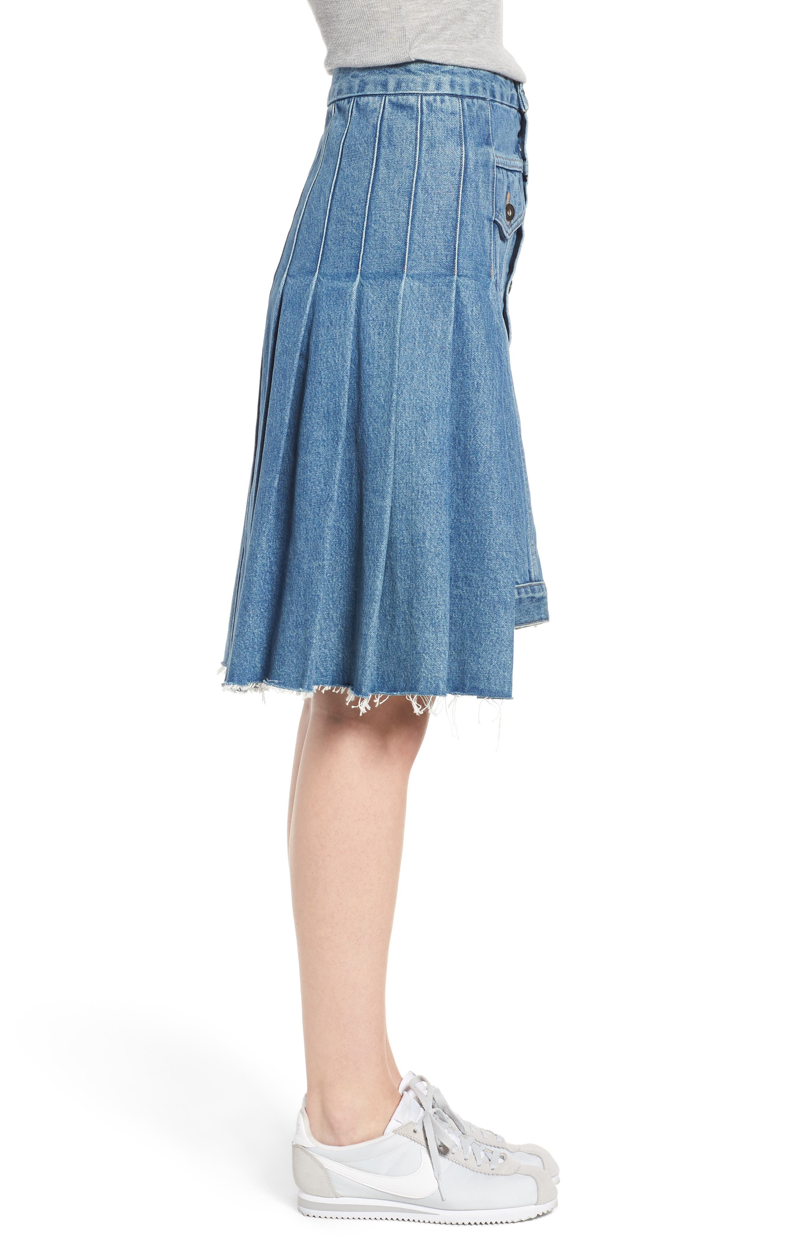 LEVI'S<SUP>®</SUP> MADE & CRAFTED<SUP>™</SUP>,                             Type III Pleated Denim Skirt,                             Alternate thumbnail 4, color,                             400