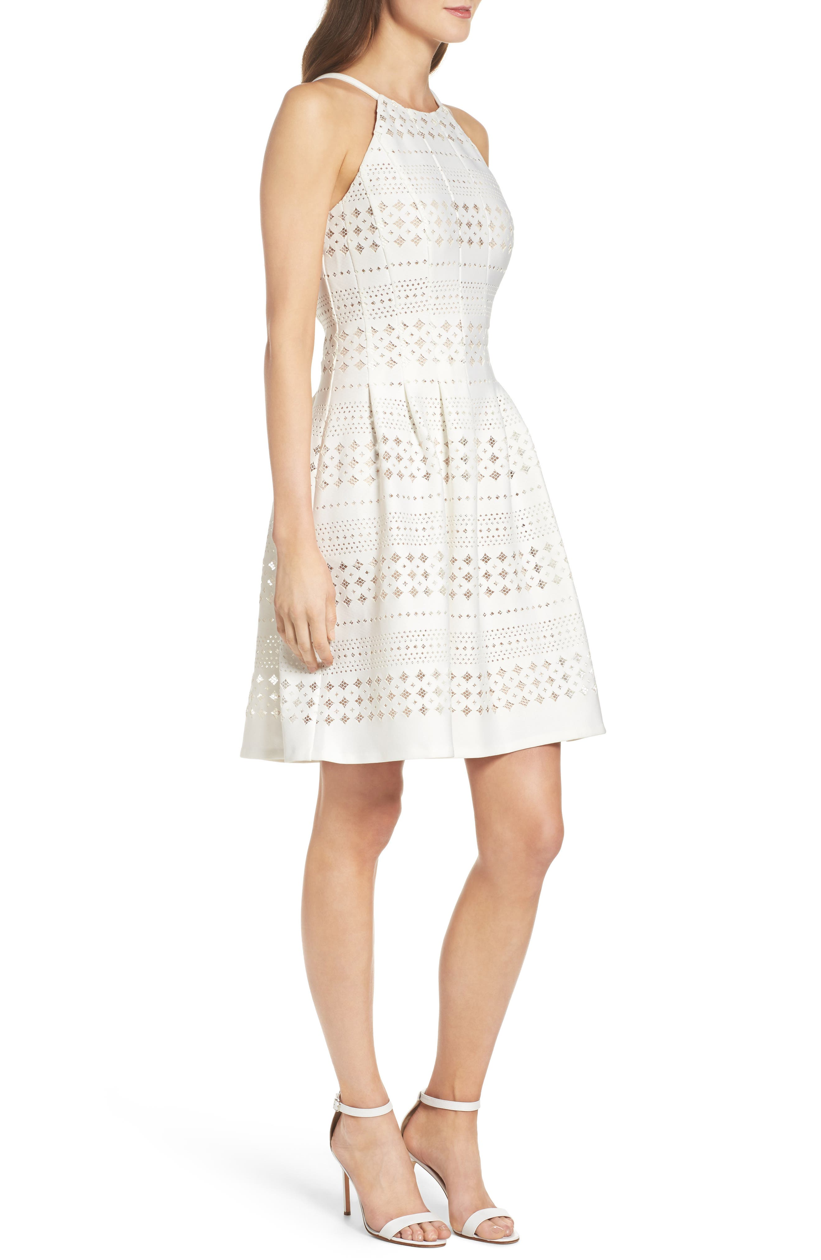 Laser Cut Fit & Flare Dress,                             Alternate thumbnail 3, color,                             901