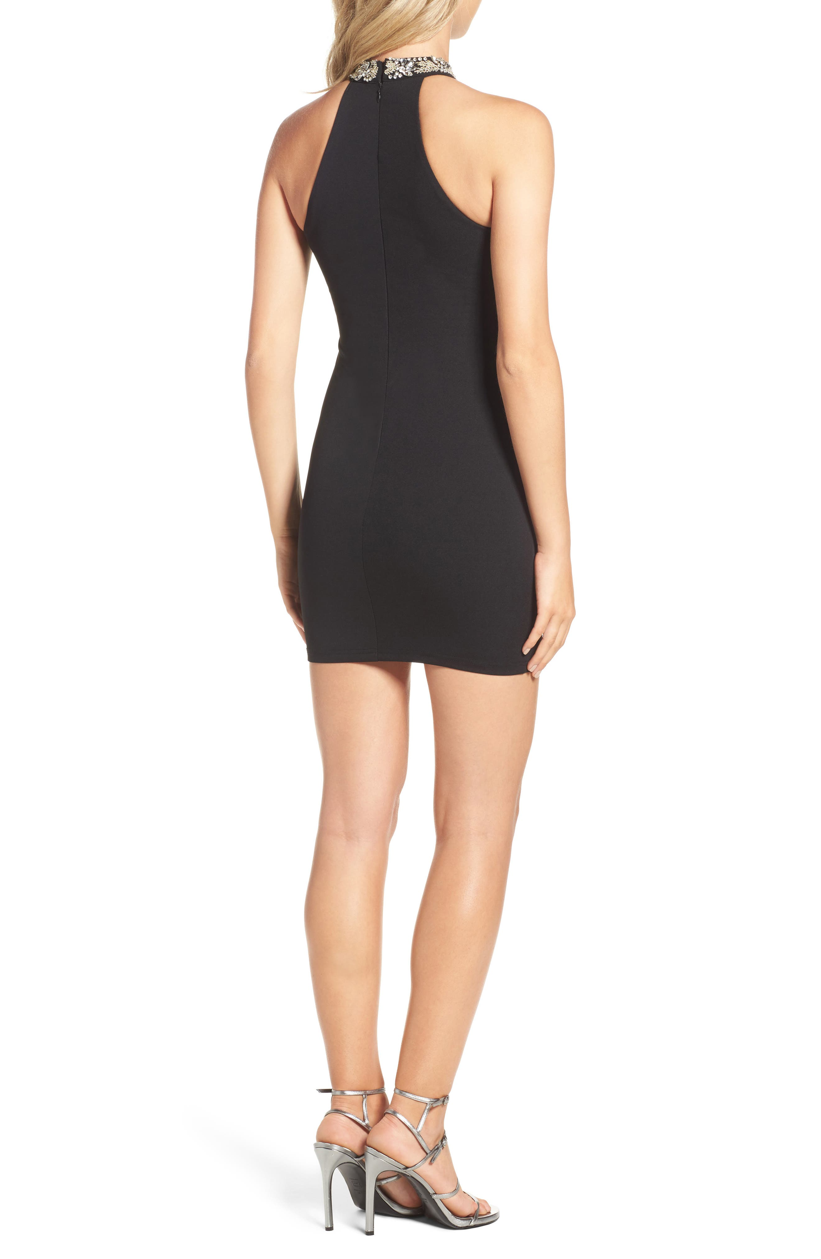 Alluring Evening Beaded Body-Con Dress,                             Alternate thumbnail 3, color,