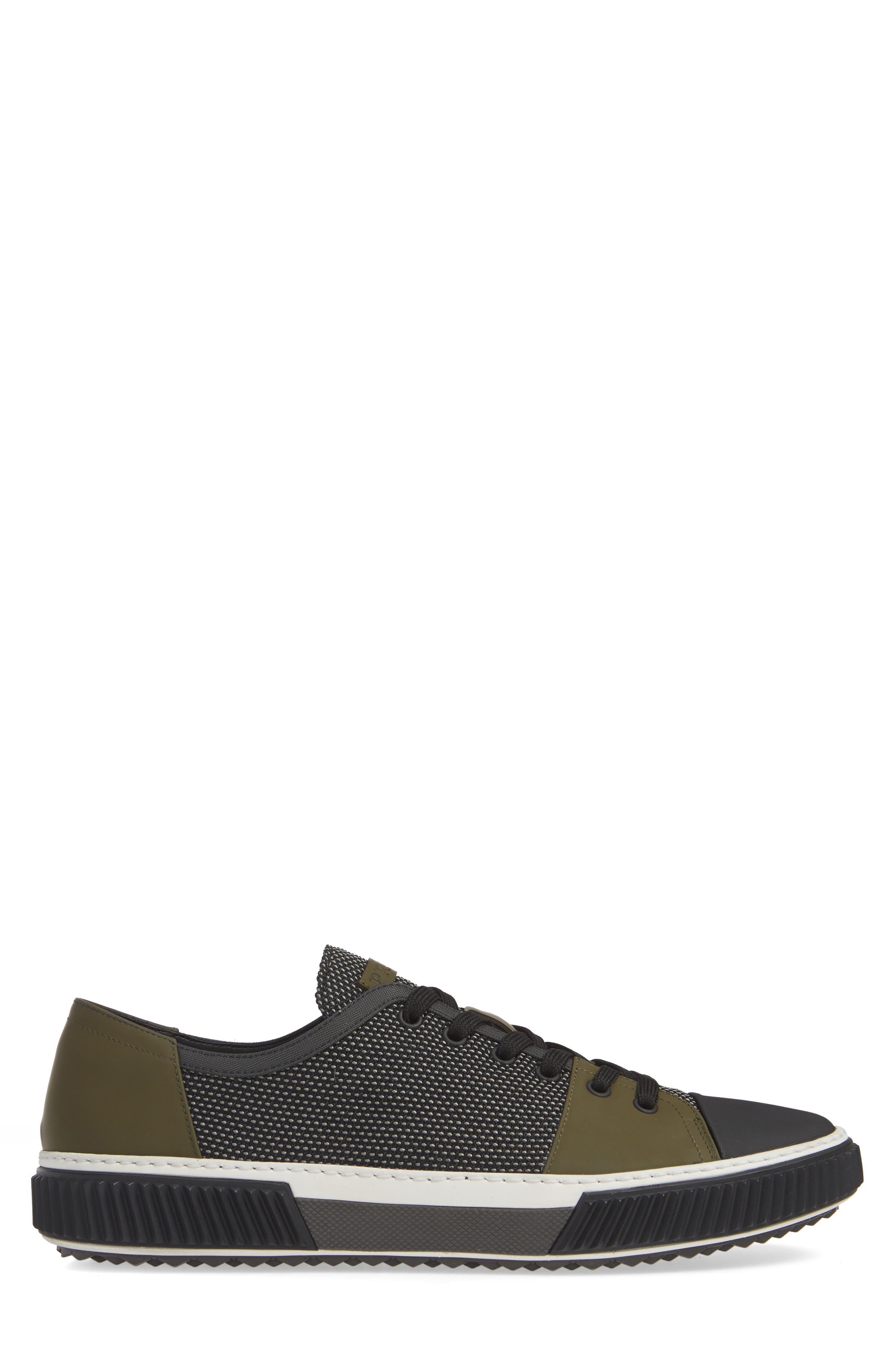 PRADA,                             Linea Rossa Sneaker,                             Alternate thumbnail 3, color,                             GREY/ BLACK