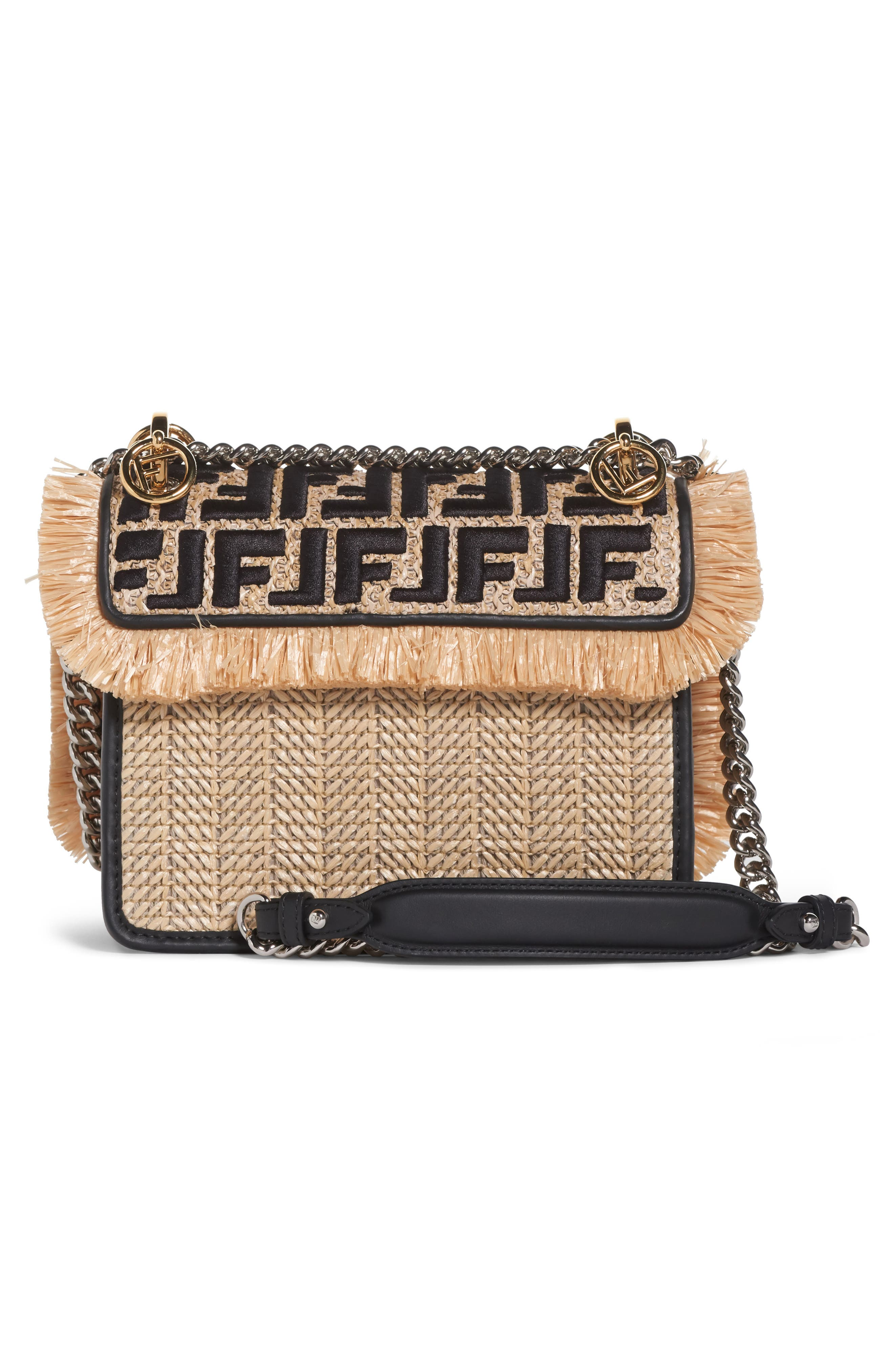 Kan I Raffia & Leather Small Shoulder Bag,                             Alternate thumbnail 3, color,                             NATURAL/ NERO