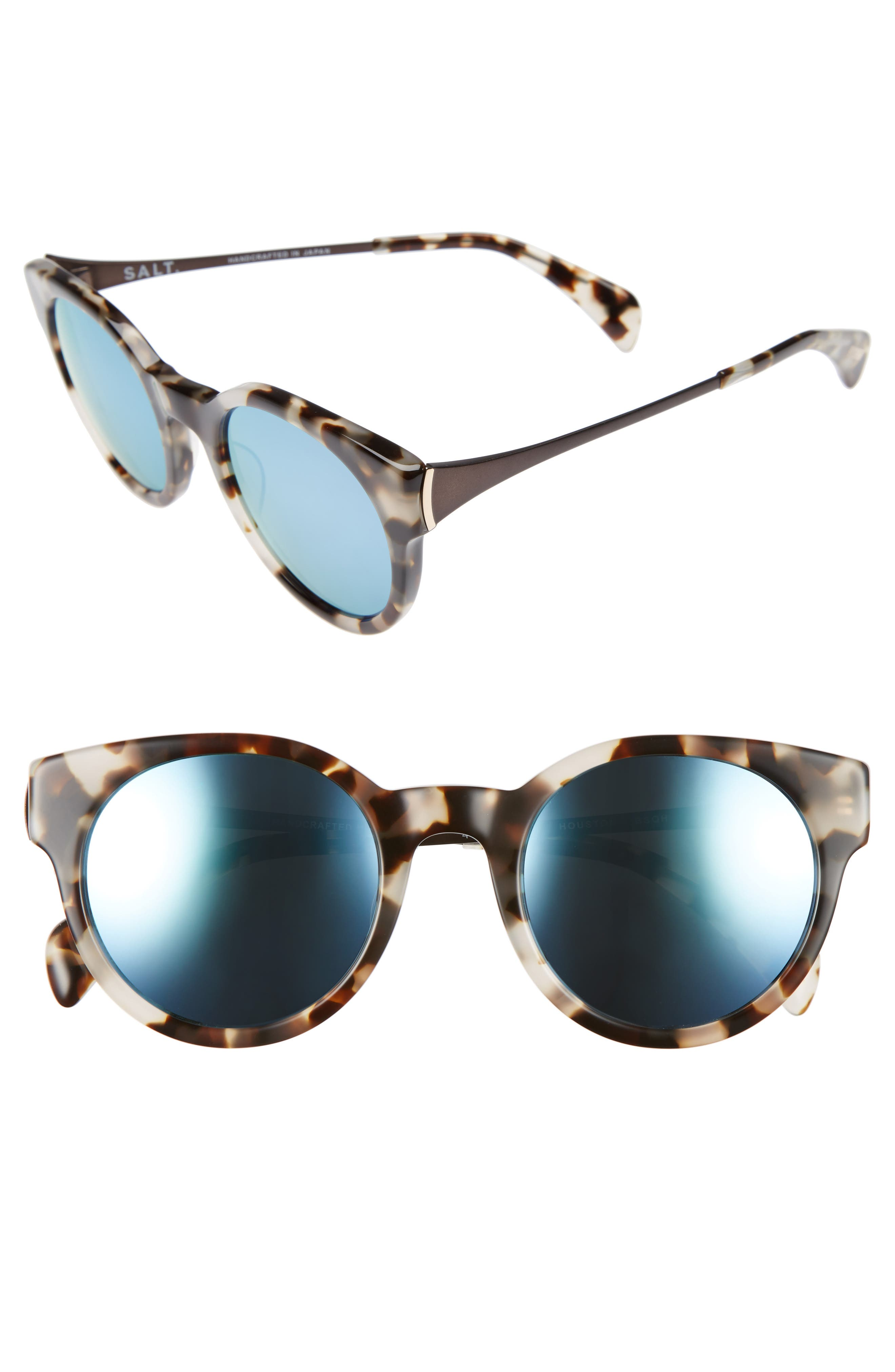 Houston 49mm Polarized Round Sunglasses,                         Main,                         color, BISQUE HAVANA/ BLUE MIRROR