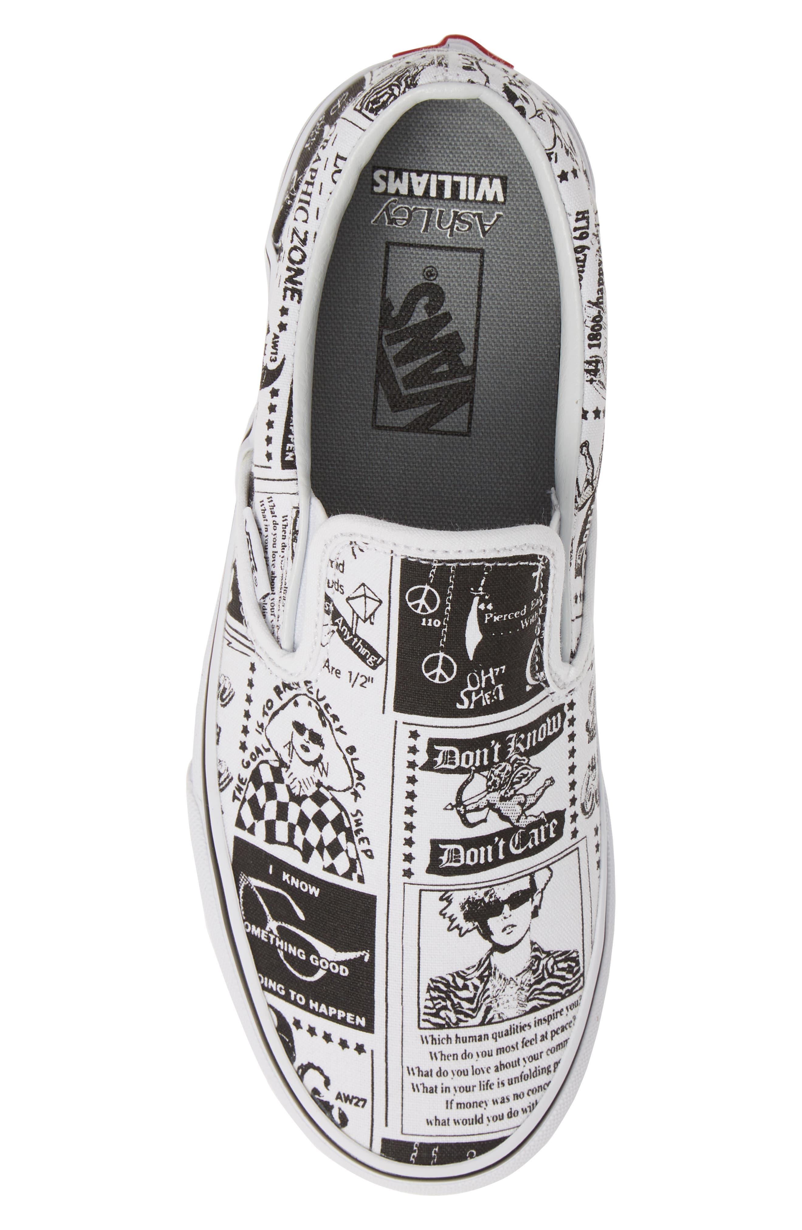 VANS,                             x Ashley Williams Print Classic Slip-On Sneaker,                             Alternate thumbnail 5, color,                             100