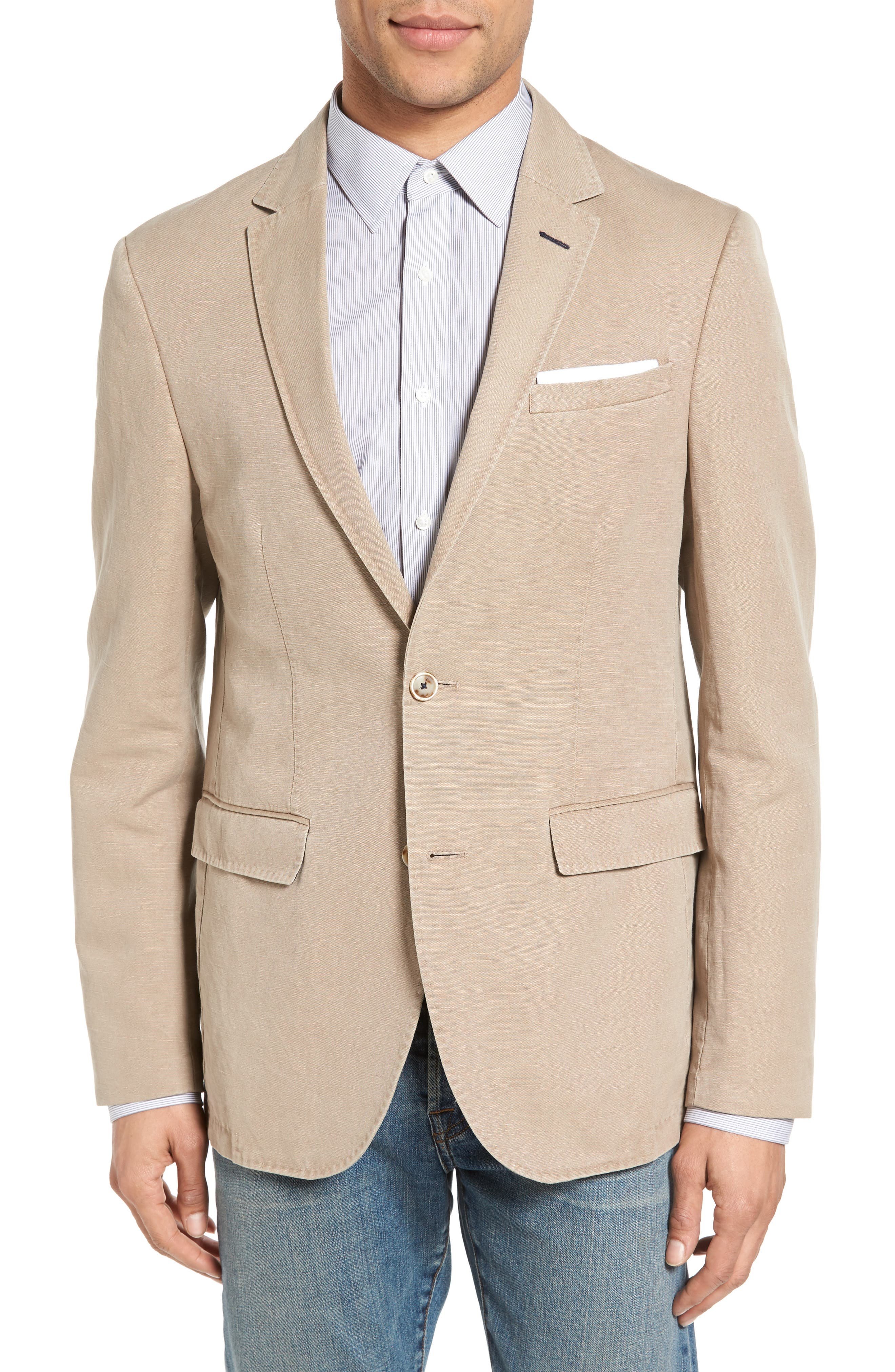 Trim Fit Cotton & Linen Blazer,                             Main thumbnail 1, color,                             271