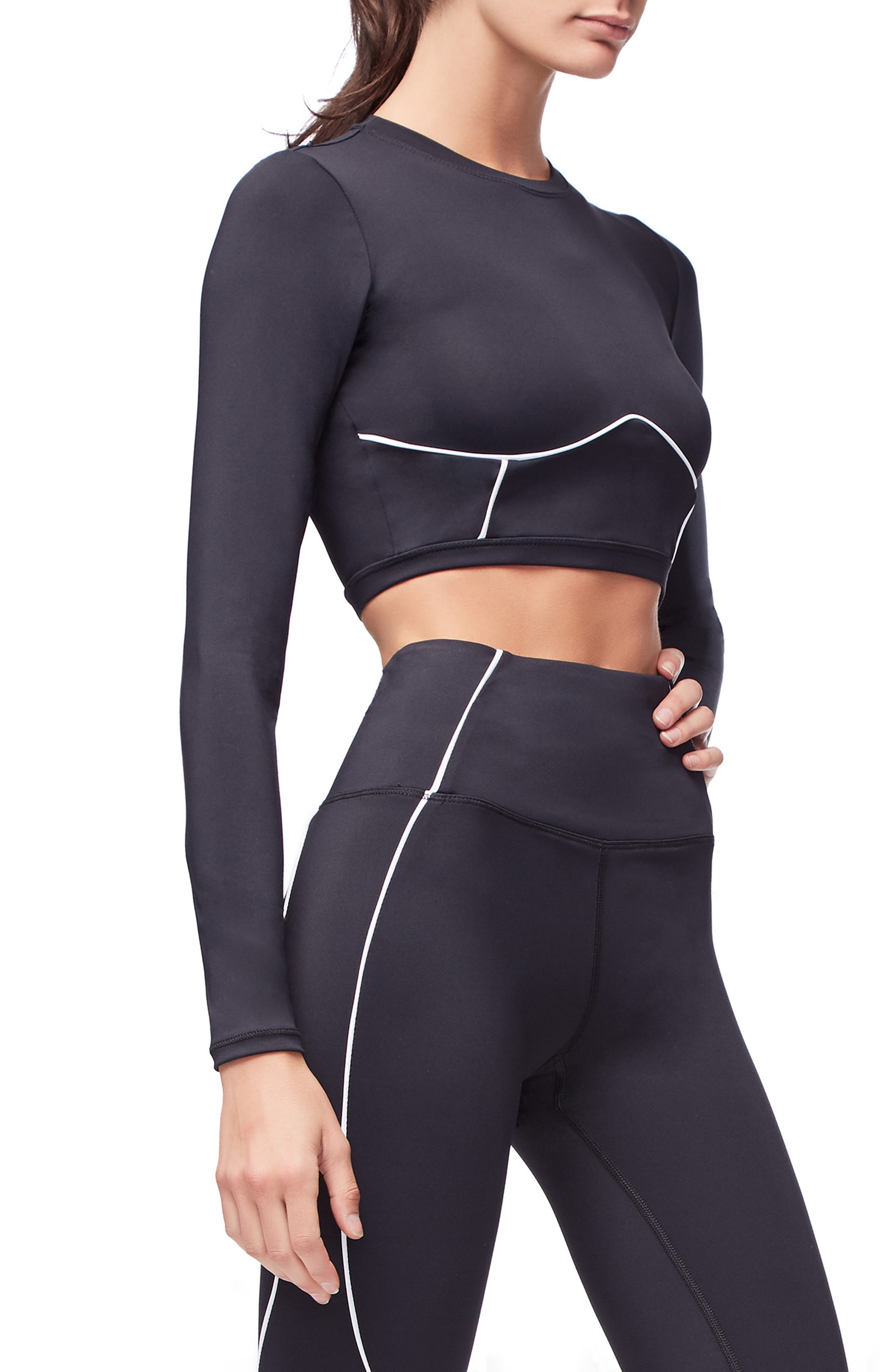 Piped Crop Top,                             Alternate thumbnail 4, color,                             BLACK001