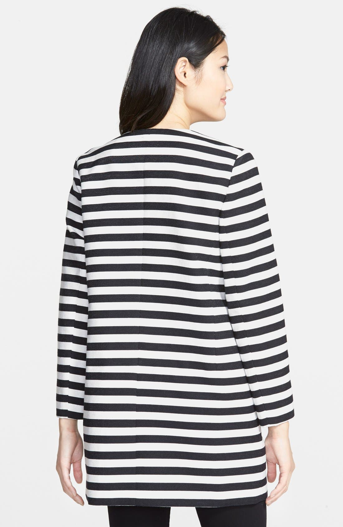 HALOGEN<SUP>®</SUP>,                             Stripe Collarless Topper,                             Alternate thumbnail 3, color,                             001
