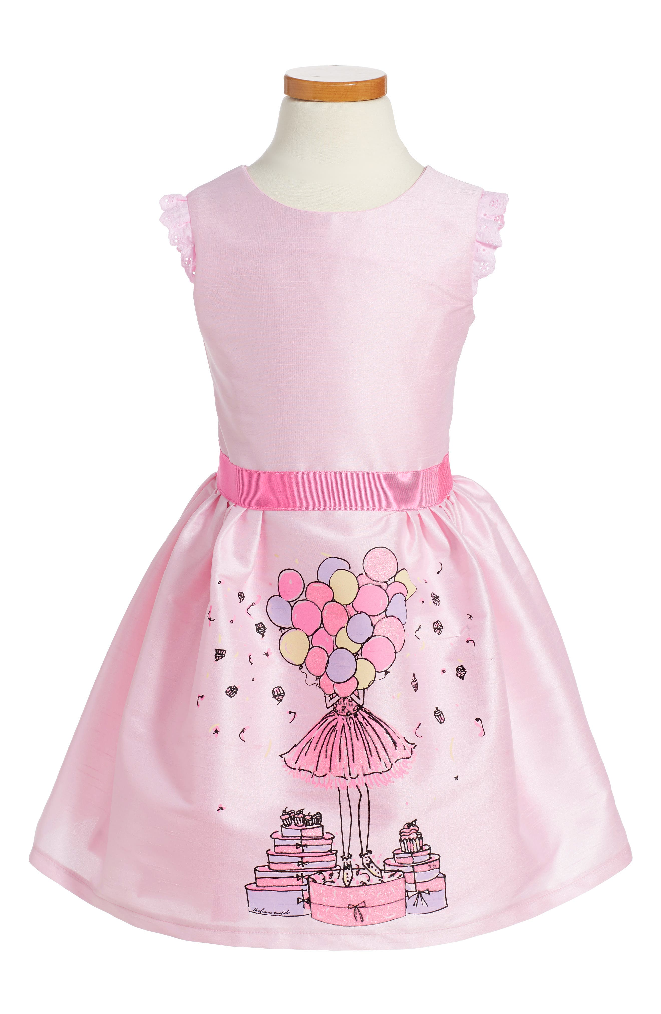 FIVELOAVES TWOFISH Birthday Balloons Party Dress, Main, color, 650