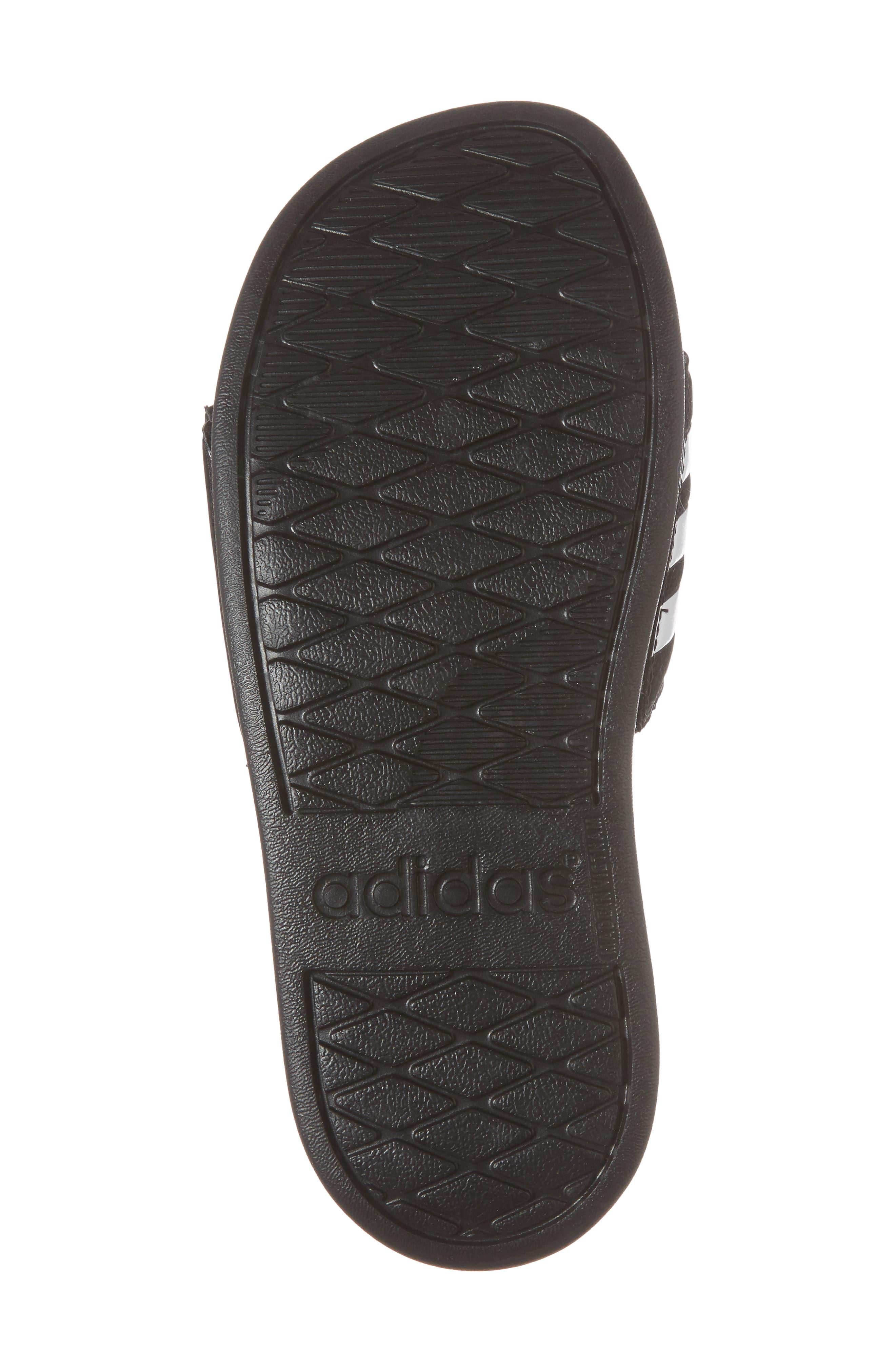Adilette Slide Sandal,                             Alternate thumbnail 6, color,                             BLACK/ WHITE