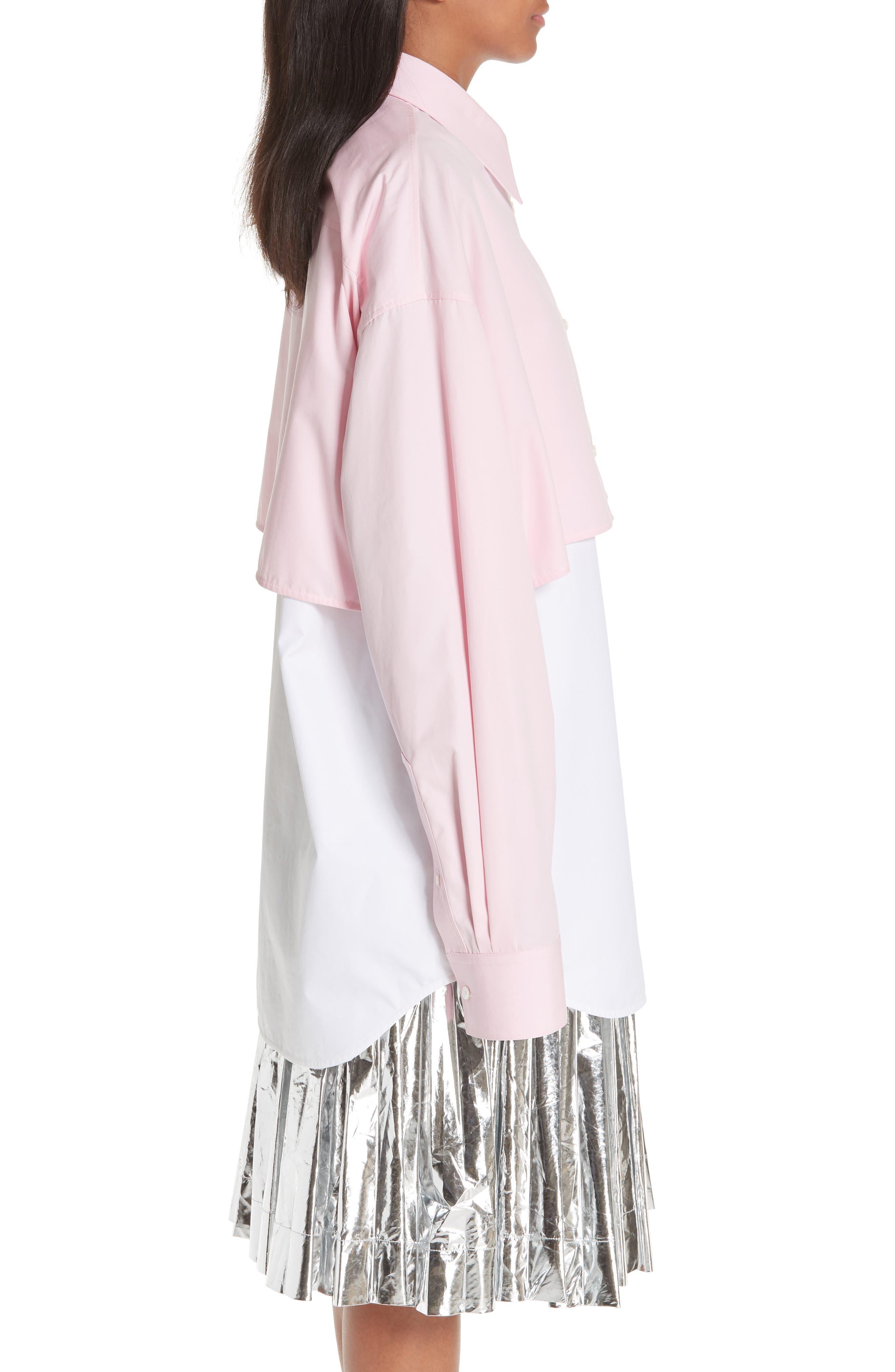 Layered Cotton Poplin Shirt,                             Alternate thumbnail 4, color,                             ROSE OPTIC WHITE