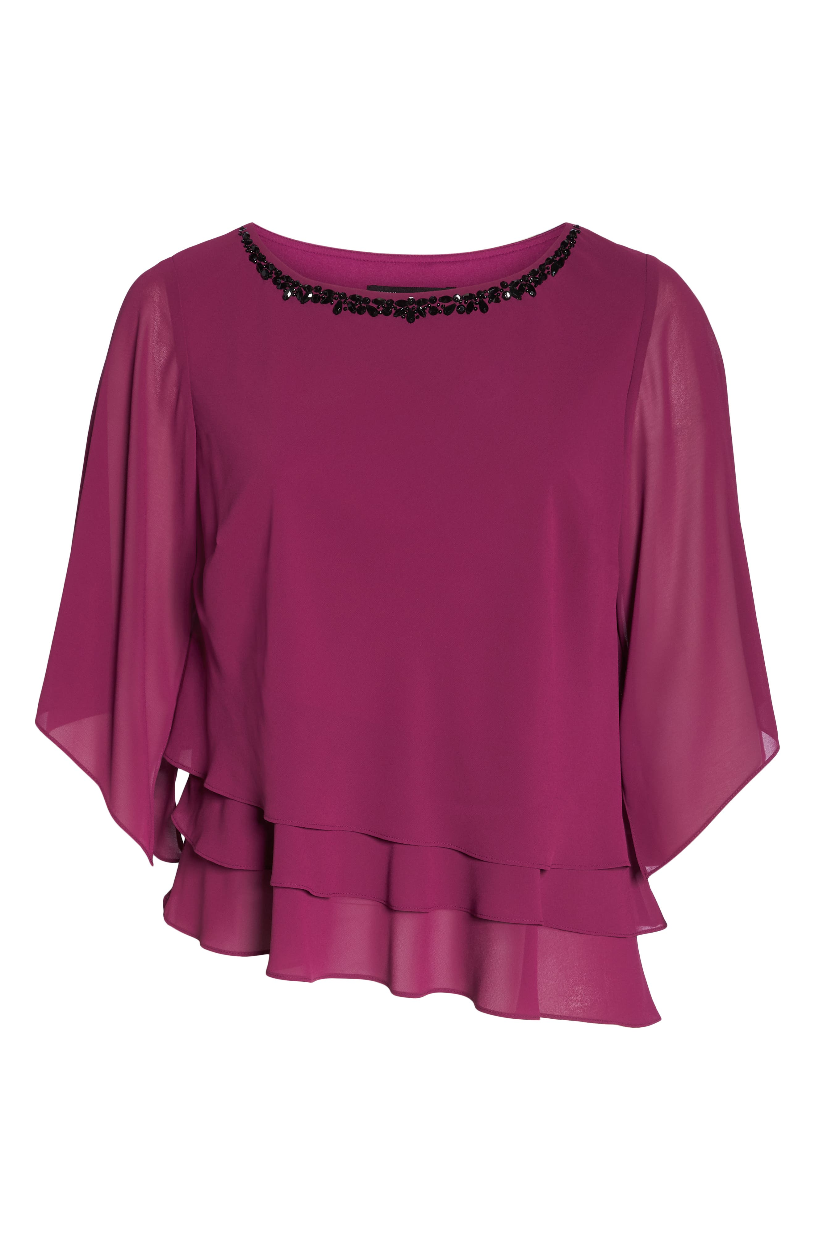 Embellished Tiered Chiffon Top,                             Alternate thumbnail 7, color,                             ALALEA