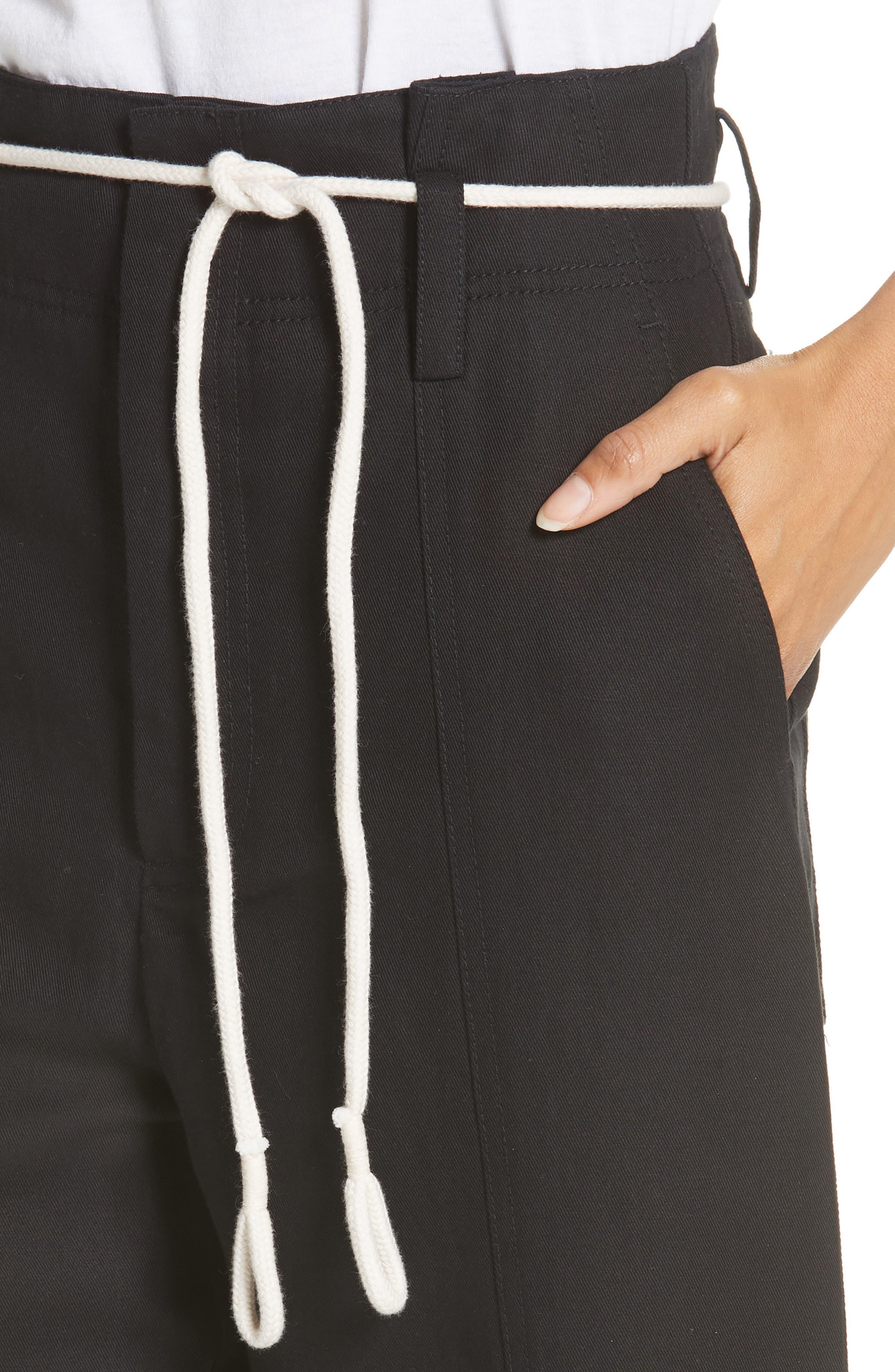 High Rise Linen Cotton Crop Pants,                             Alternate thumbnail 4, color,                             BLACK