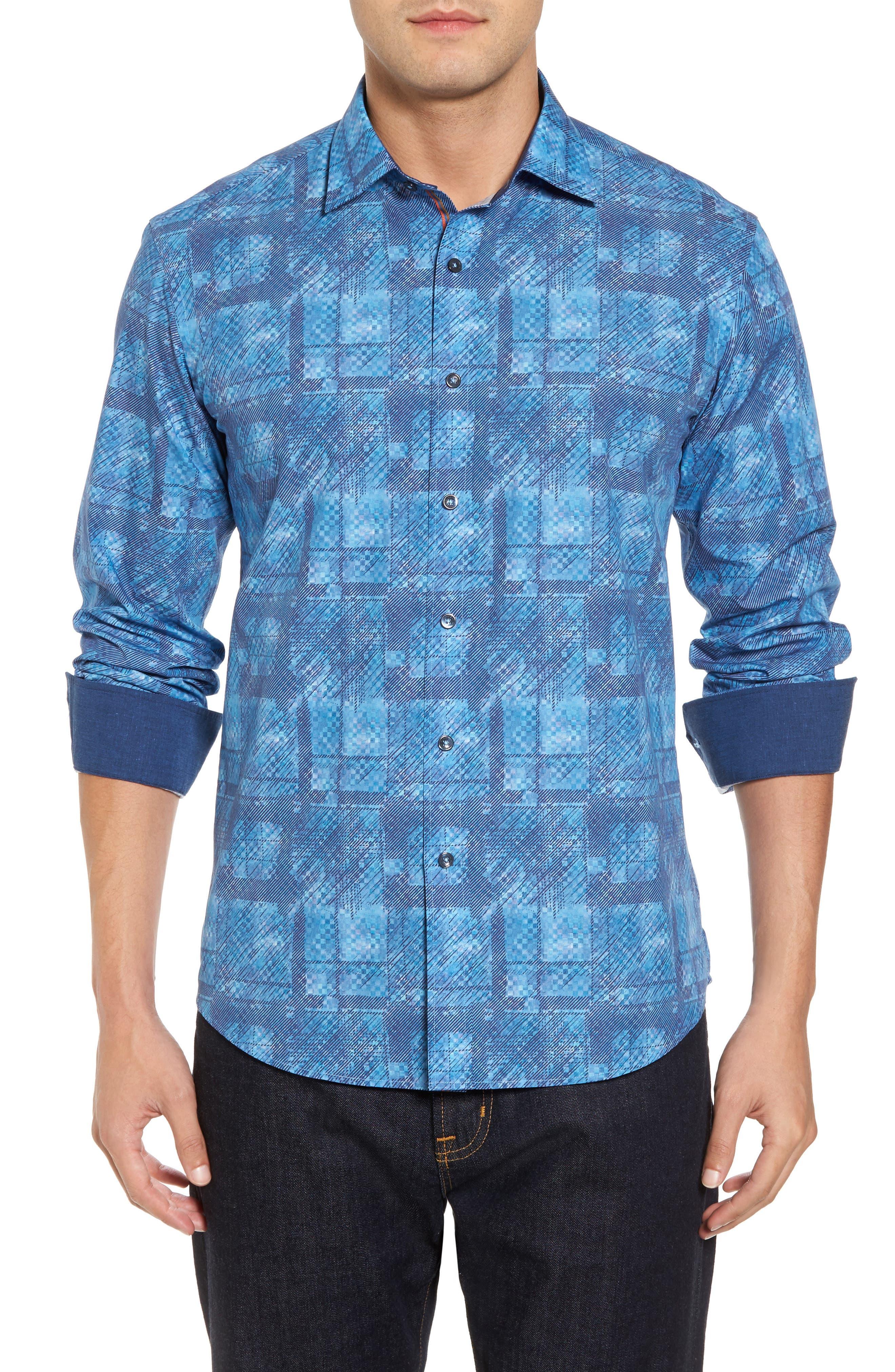 Shaped Fit Print Sport Shirt,                         Main,                         color, 425