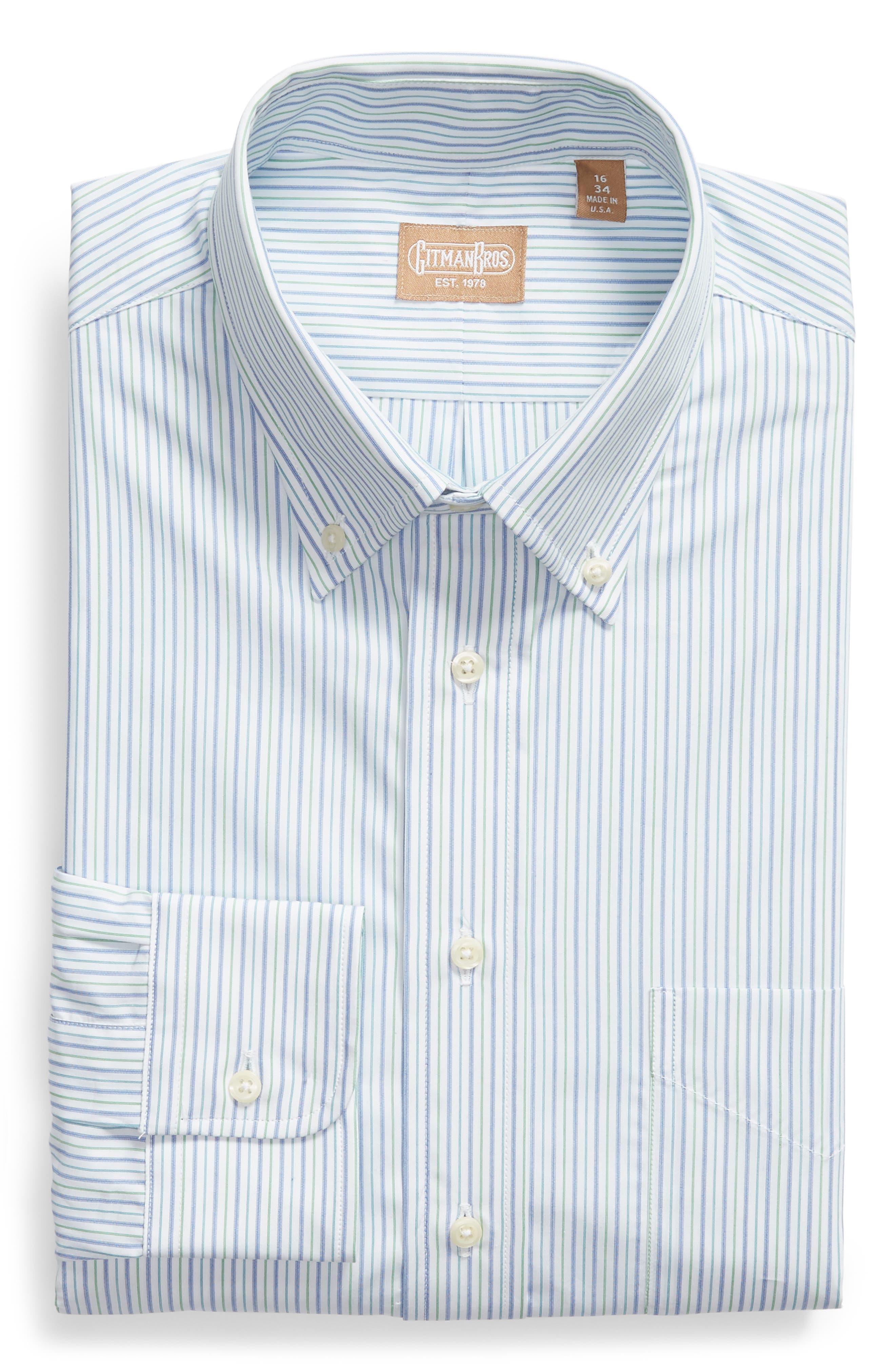 Tailored Fit Stripe Dress Shirt,                             Alternate thumbnail 5, color,                             GREEN