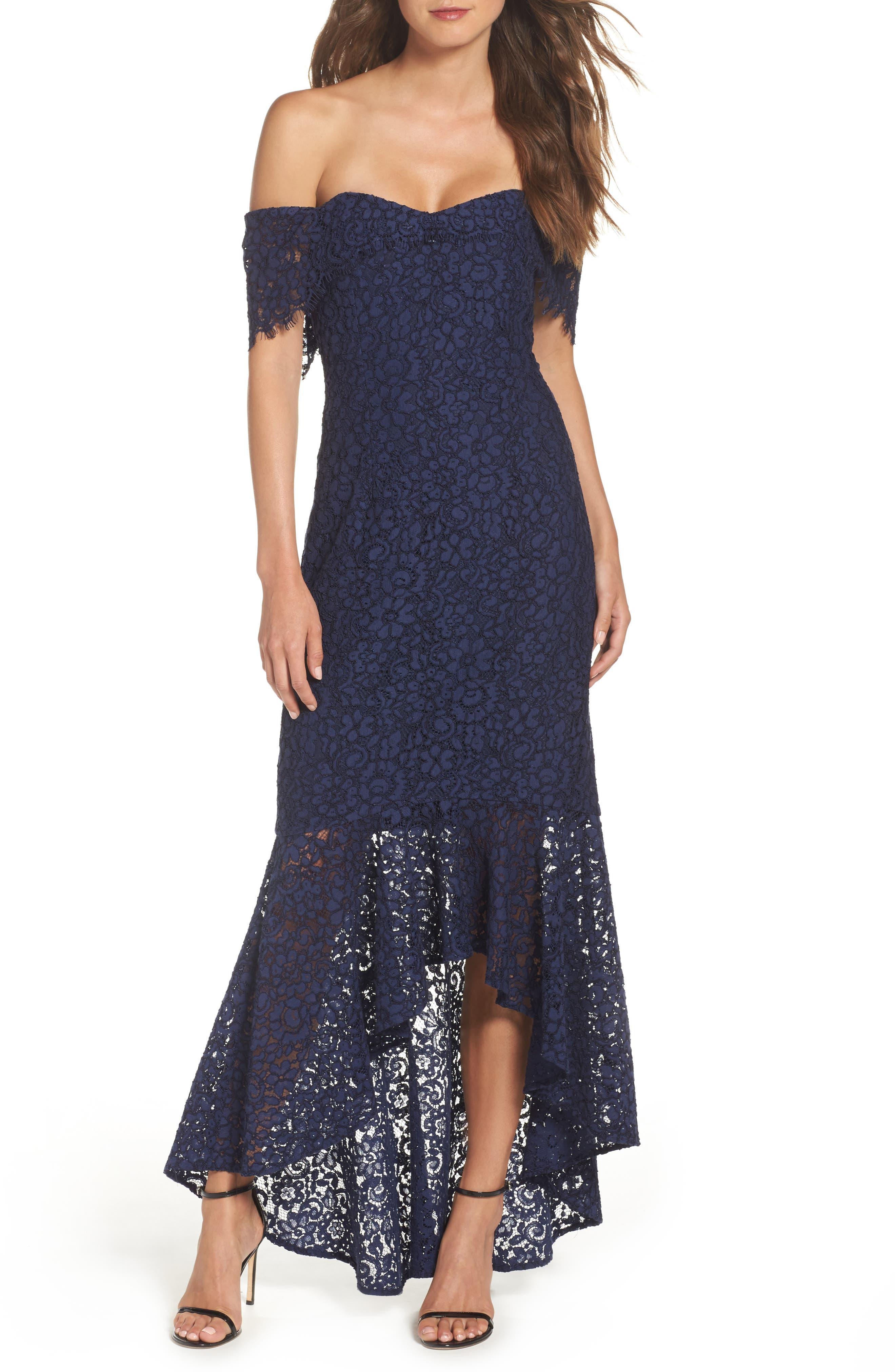 Vanowen Lace Off the Shoulder Gown,                             Main thumbnail 1, color,                             414