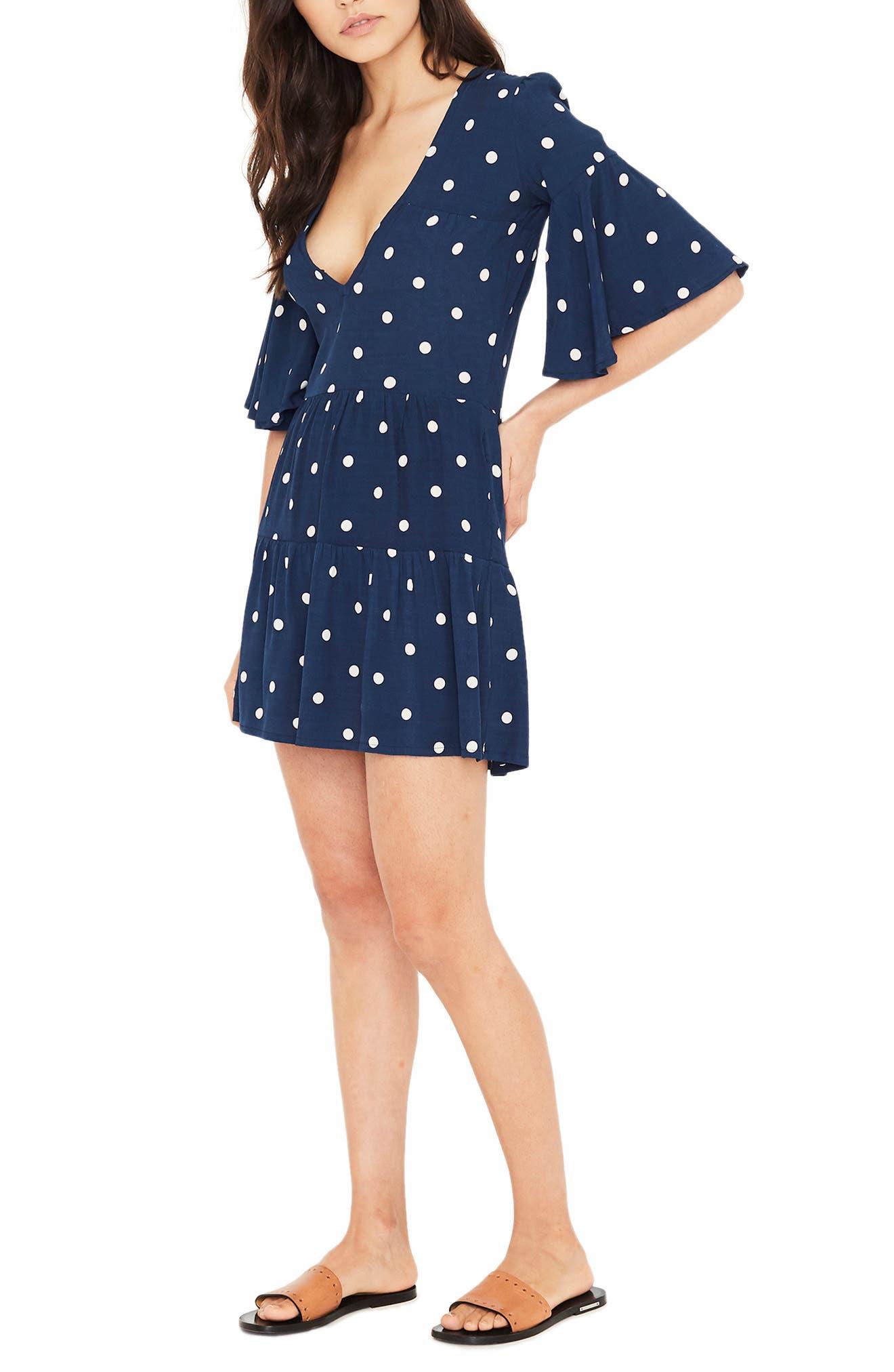 Polka Dot Dress,                             Alternate thumbnail 3, color,                             RONJA DOT VINTAGE BLUE