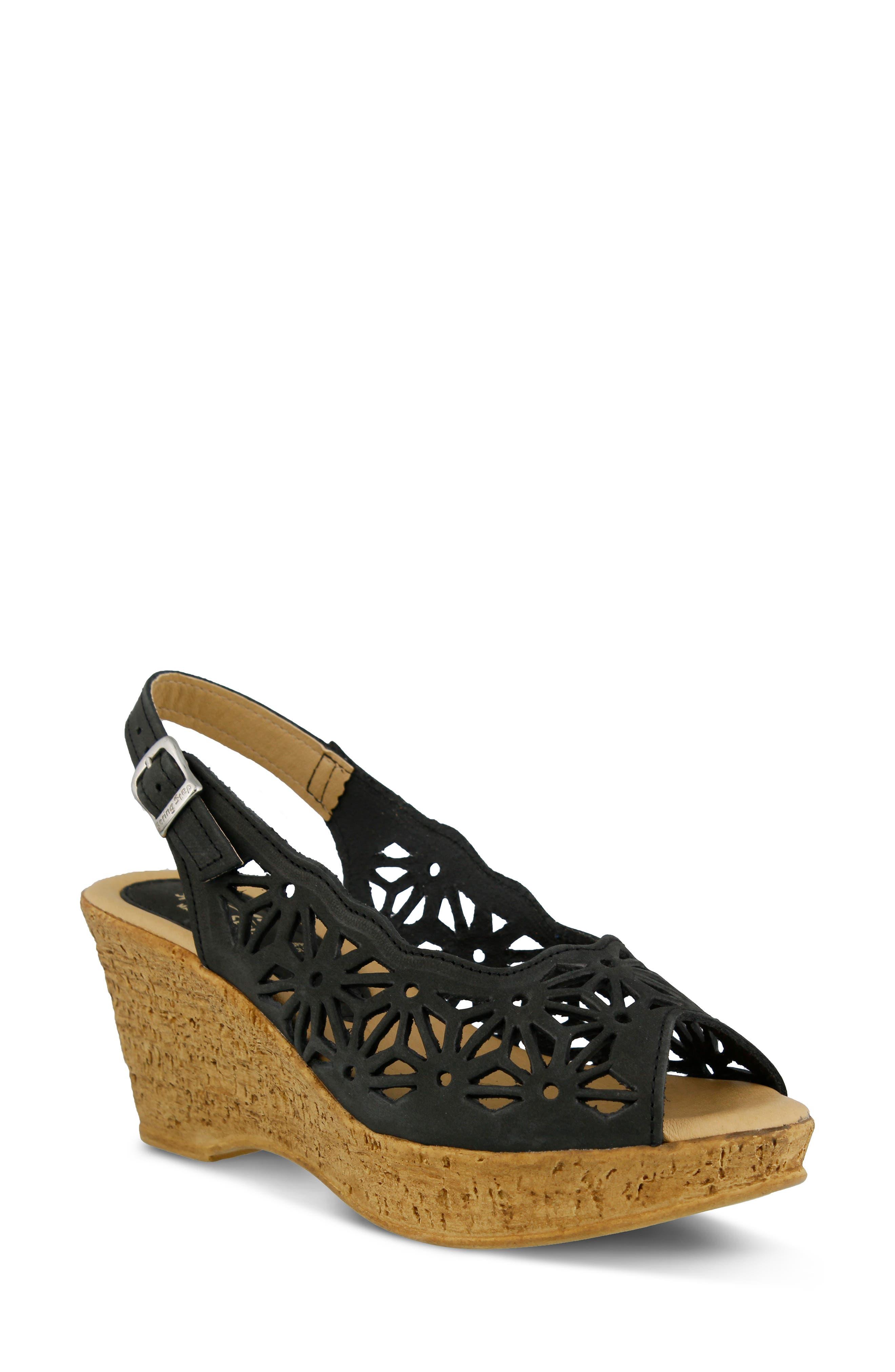 SPRING STEP,                             Abigail Platform Wedge Sandal,                             Main thumbnail 1, color,                             BLACK LEATHER